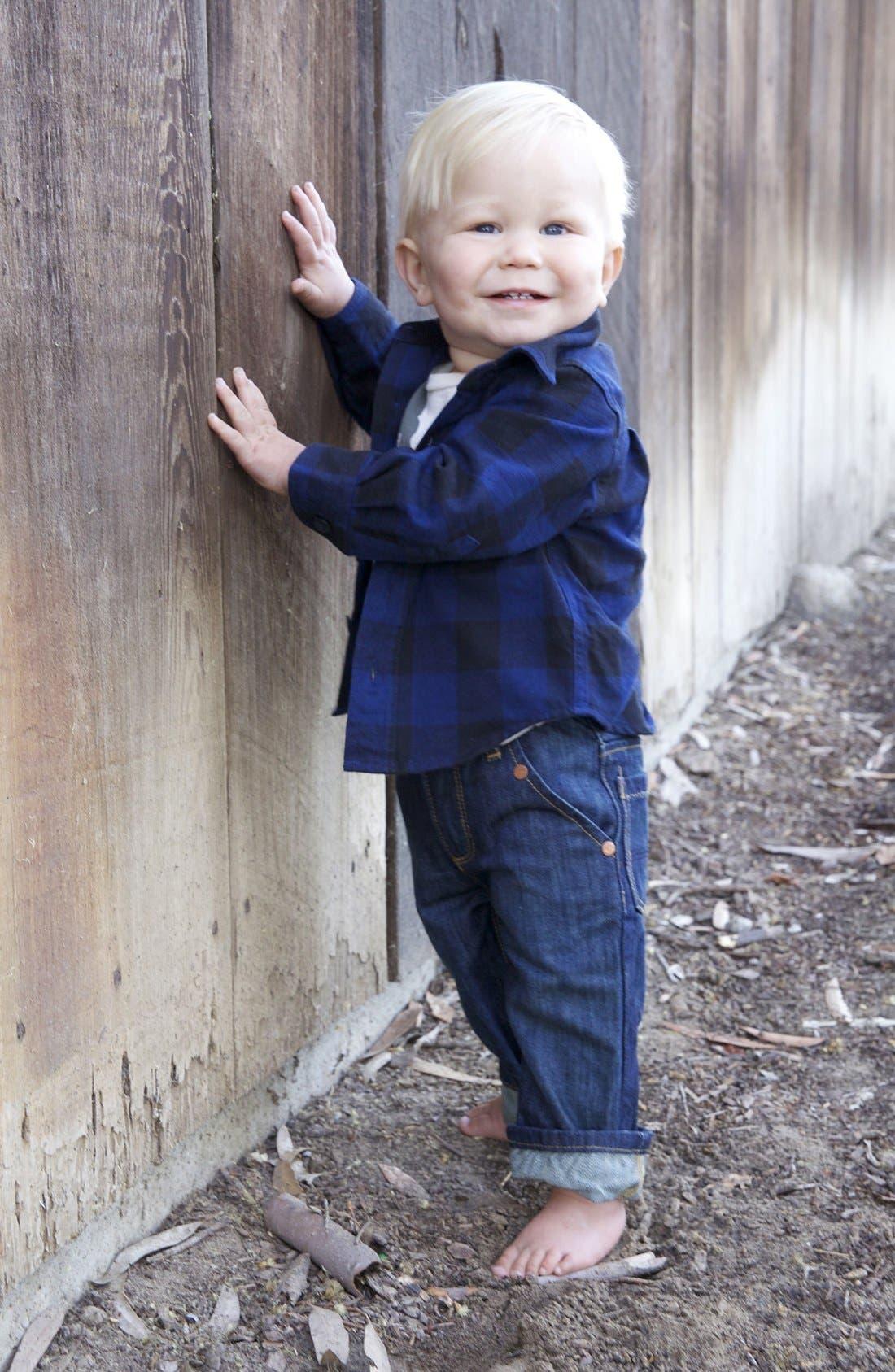Alternate Image 2  - Peek Plaid Shirt & Jeans (Baby Boys)