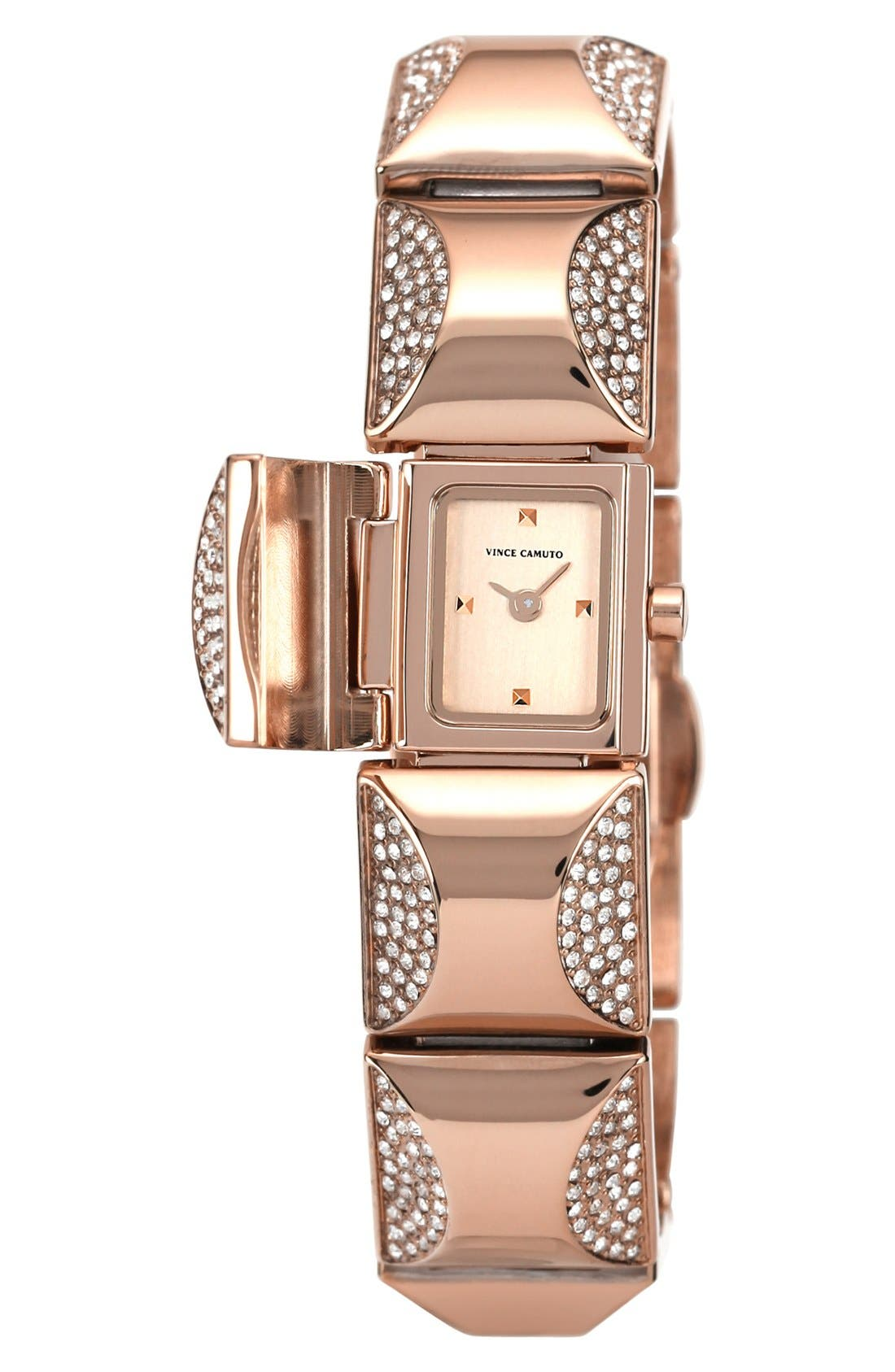 Alternate Image 2  - Vince Camuto Covered Case Crystal Accent Bracelet Watch