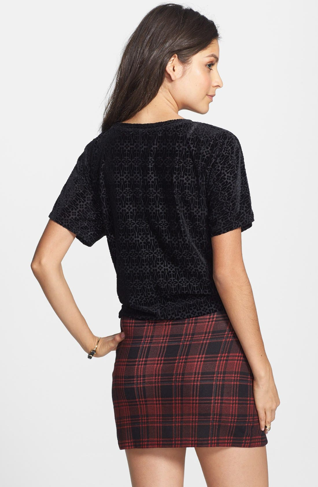 Alternate Image 2  - Painted Threads Plaid Miniskirt (Juniors) (Online Only)