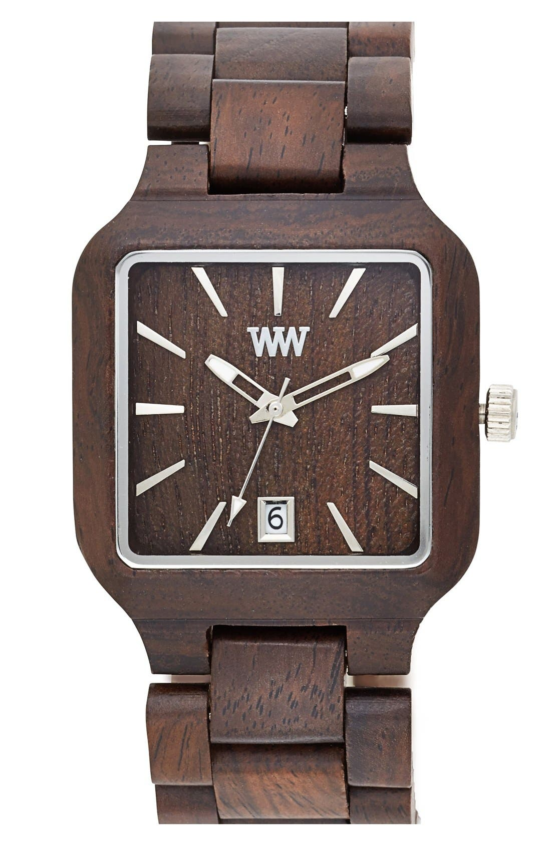 Alternate Image 1 Selected - WeWOOD 'Metis' Square Wood Bracelet Watch, 38mm
