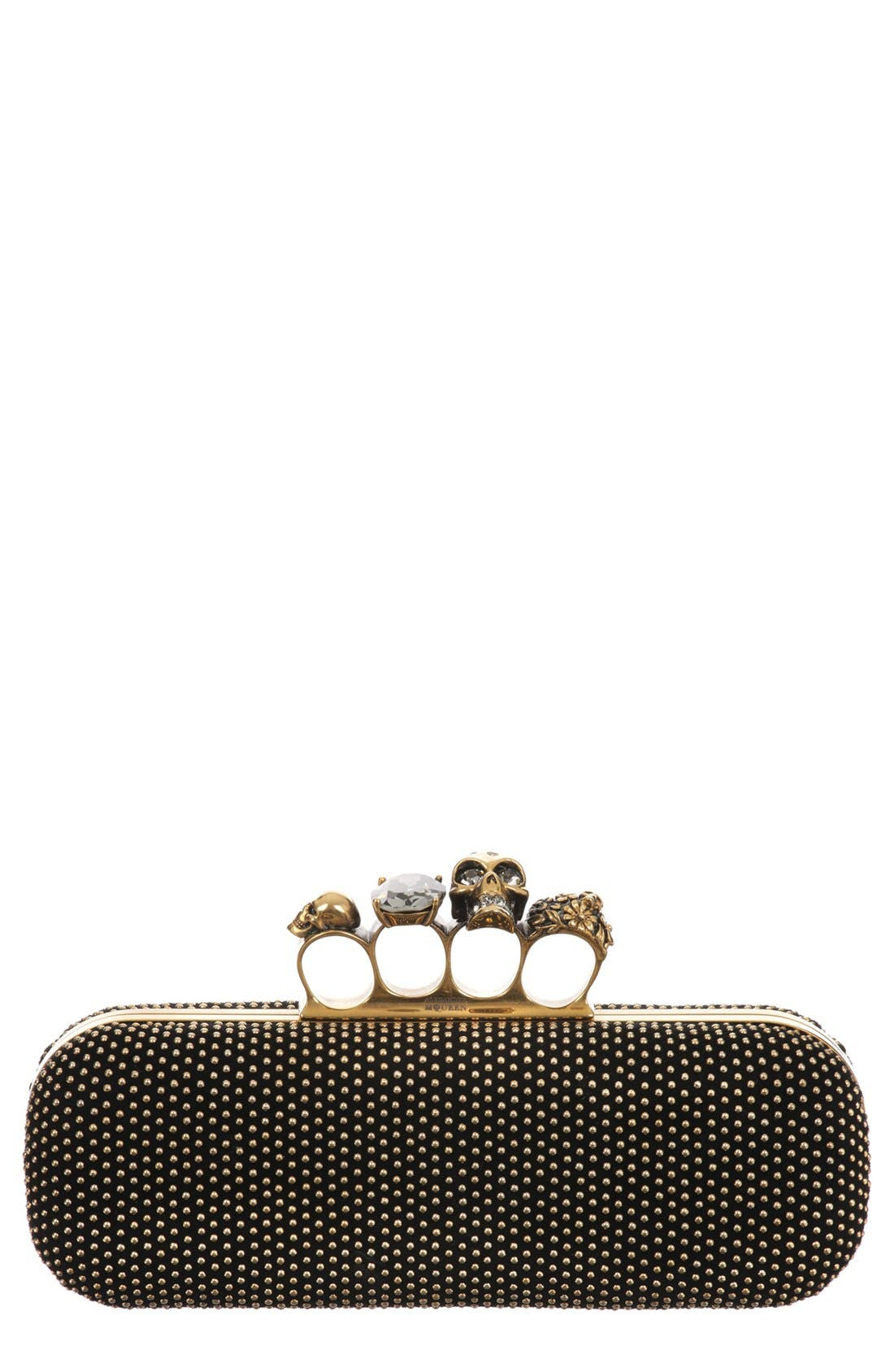 Main Image - Alexander McQueen Knuckle Clasp Studded Box Clutch