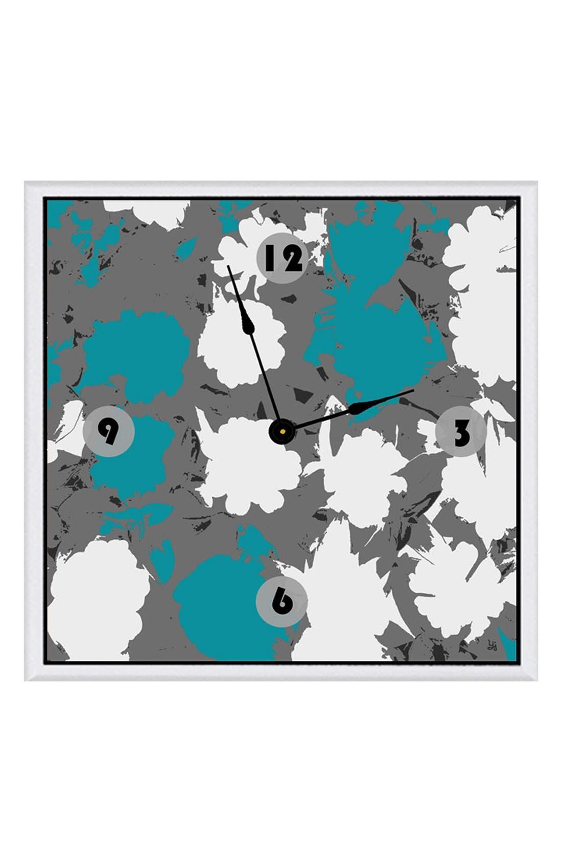 Main Image - Green Leaf Art 'Blue Touch' Clock