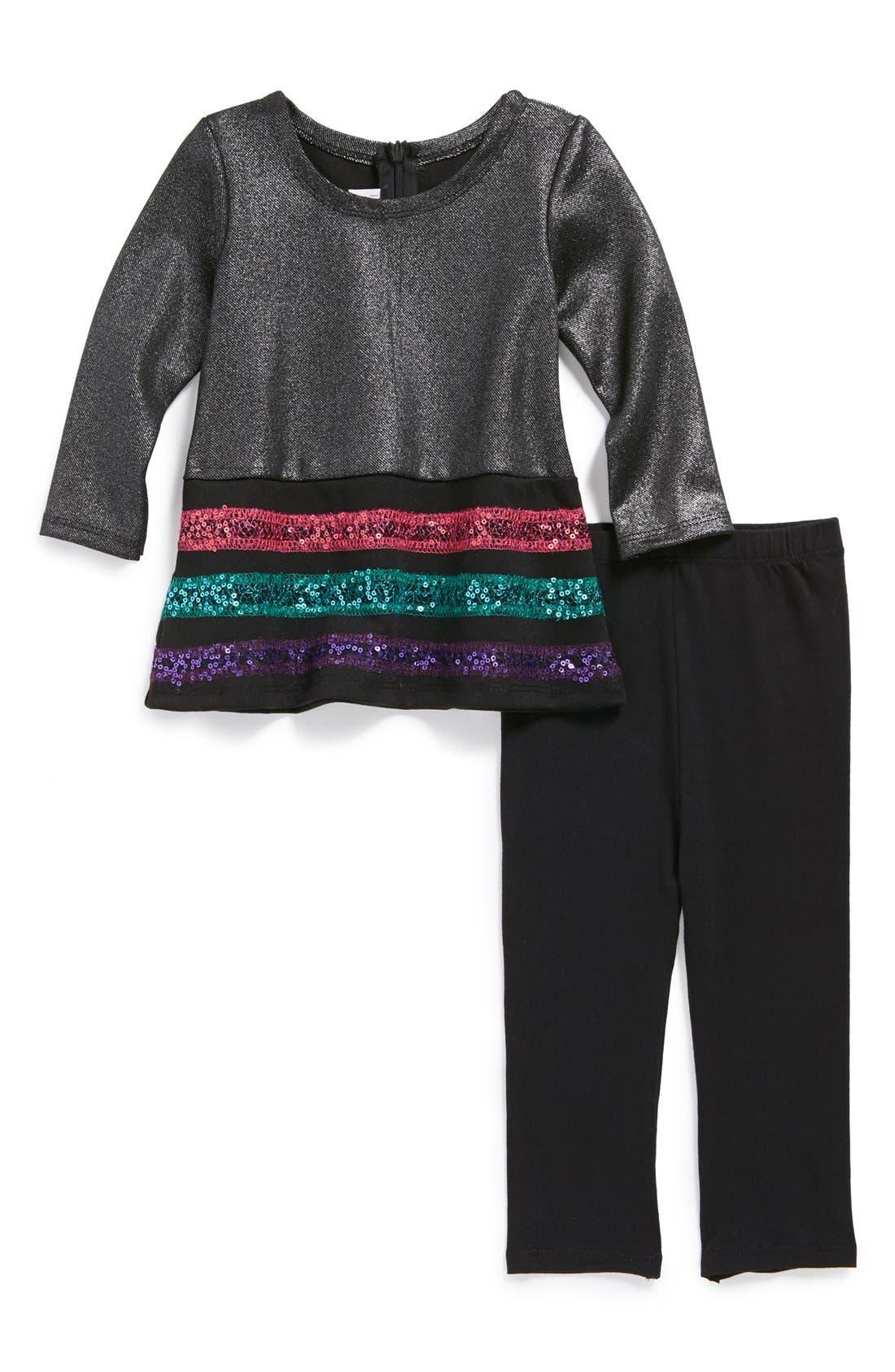 Alternate Image 1 Selected - Iris & Ivy Sequin Dress & Leggings (Toddler Girls)