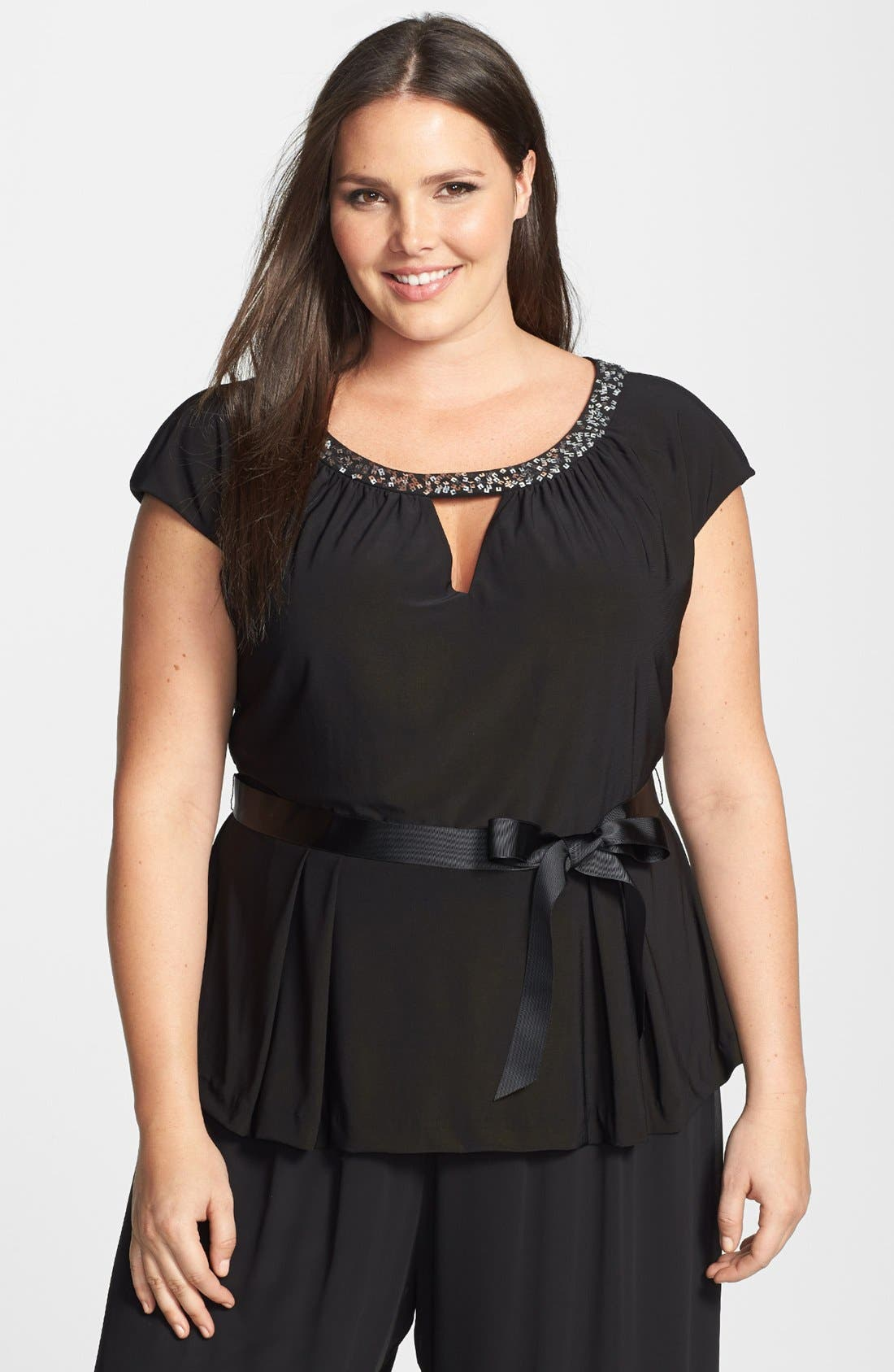 Alternate Image 1 Selected - Alex Evenings Embellished Front Cutout Cap Sleeve Blouse (Plus Size)