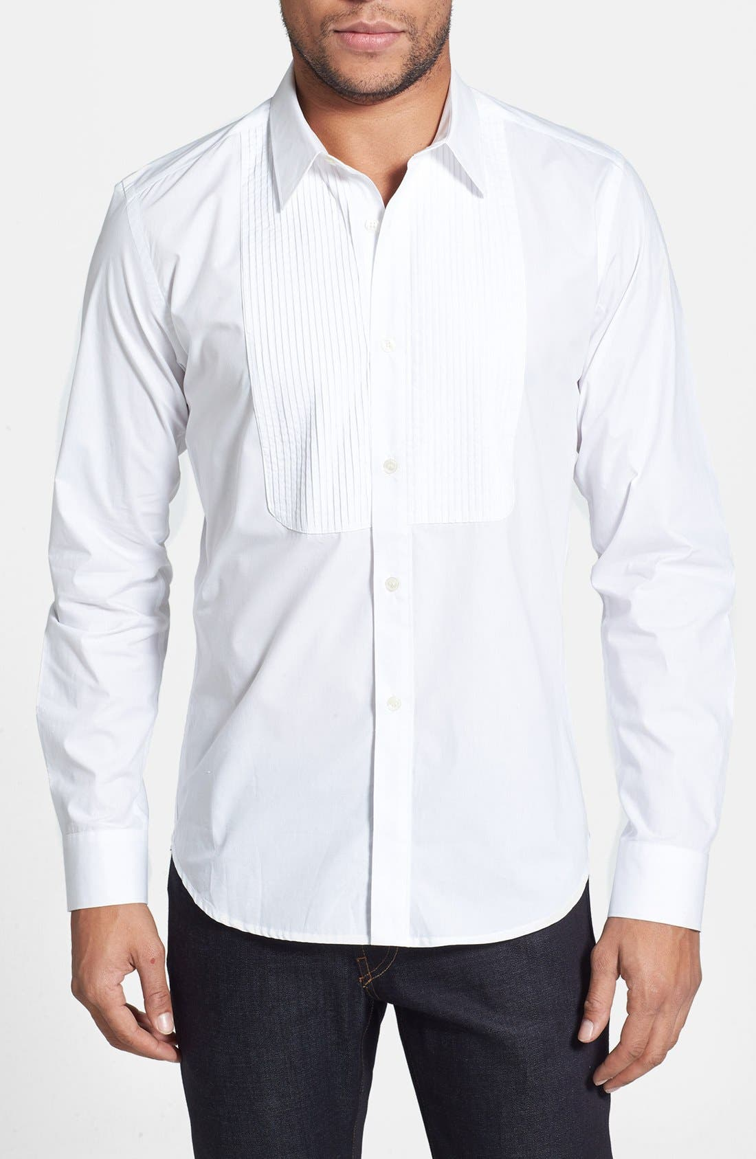 Alternate Image 1 Selected - French Connection 'Wassail' Poplin Tuxedo Shirt
