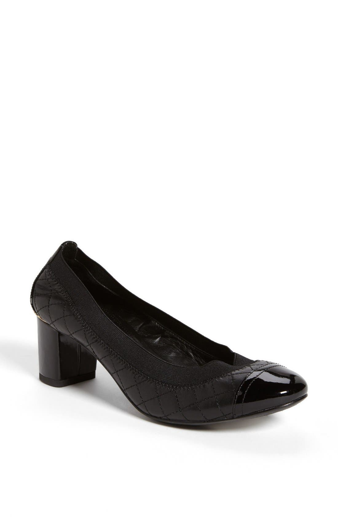 Alternate Image 1 Selected - Tory Burch 'Carrie' Quilted Leather Cap Toe Pump