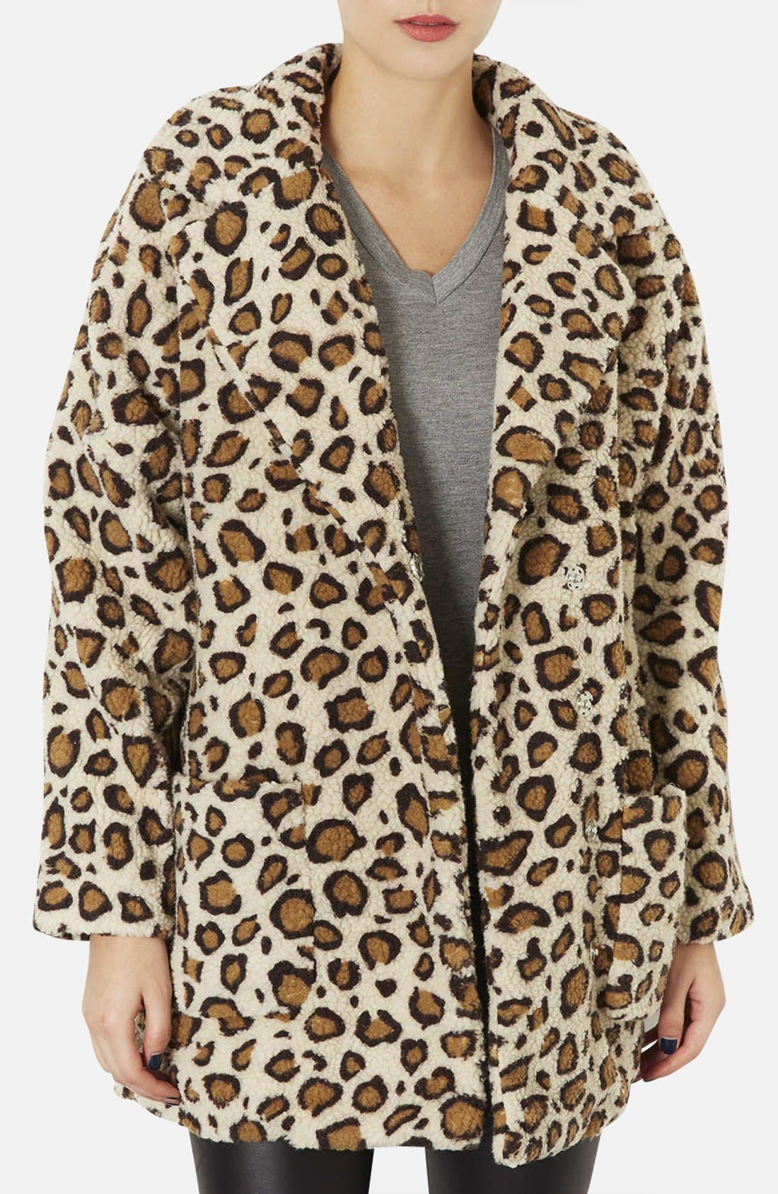 Alternate Image 1 Selected - Topshop Leopard Borg Coat