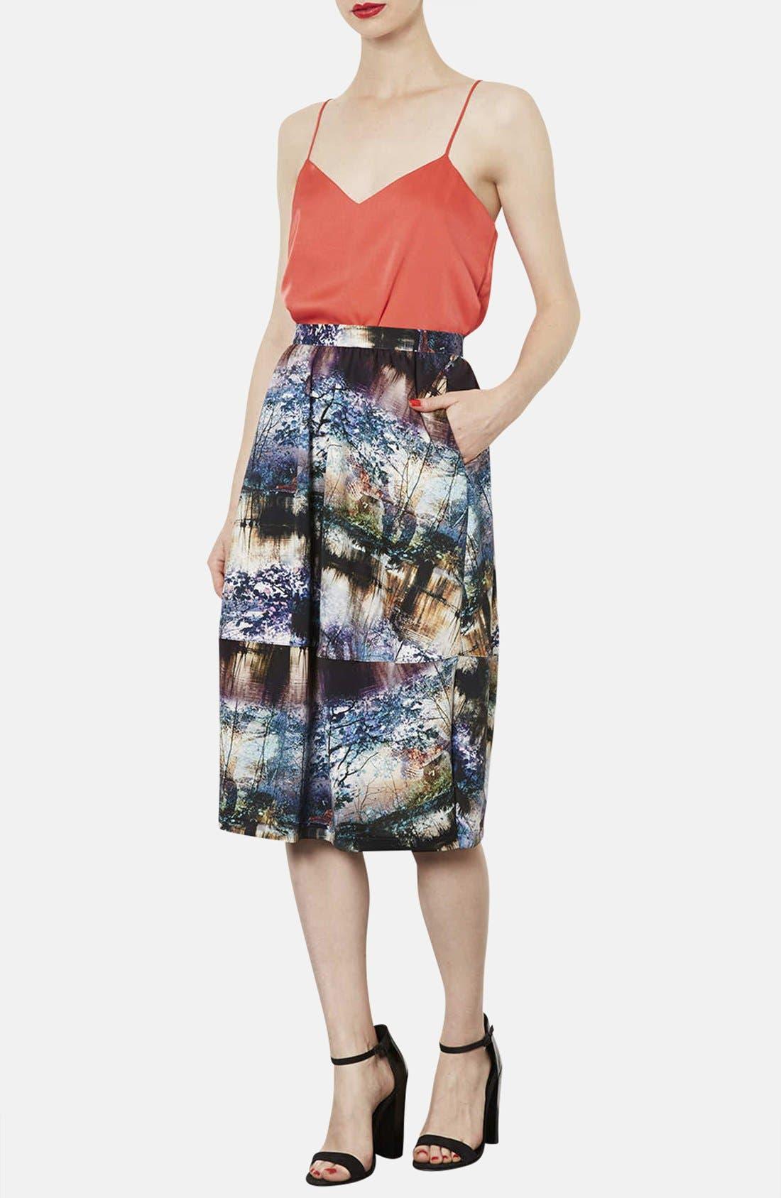 Alternate Image 5  - Topshop Photorealistic Print Midi Skirt