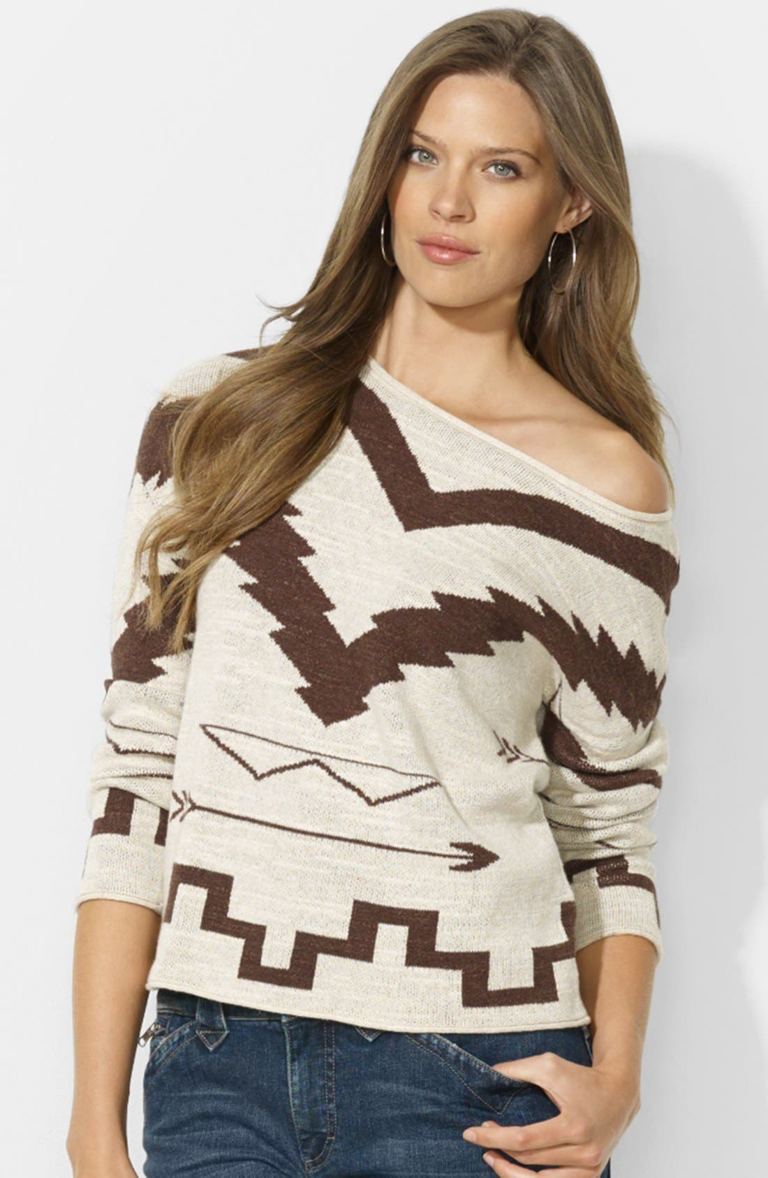 Alternate Image 1 Selected - Lauren Ralph Lauren Patterned Boat Neck Sweater (Petite)
