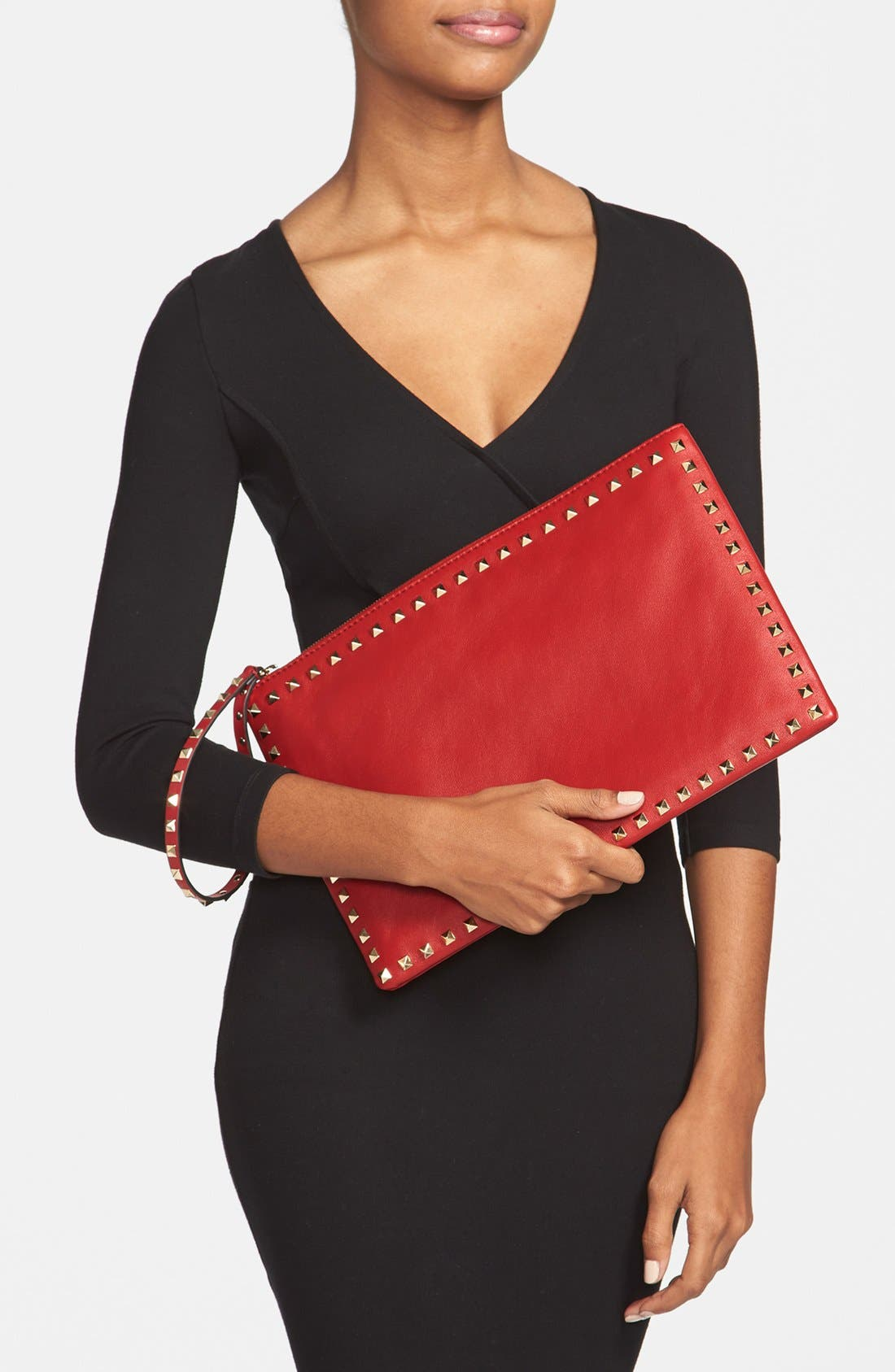 Alternate Image 2  - Valentino 'Rockstud - Flat' Nappa Leather Clutch
