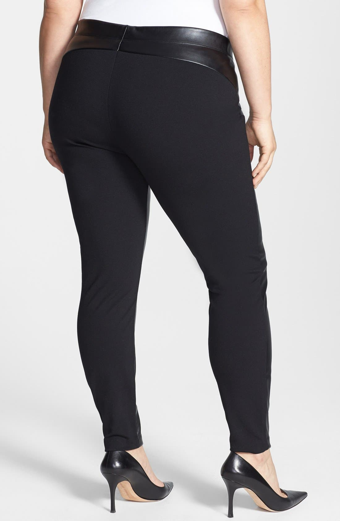Alternate Image 2  - DKNYC Faux Leather Front Leggings (Plus Size)