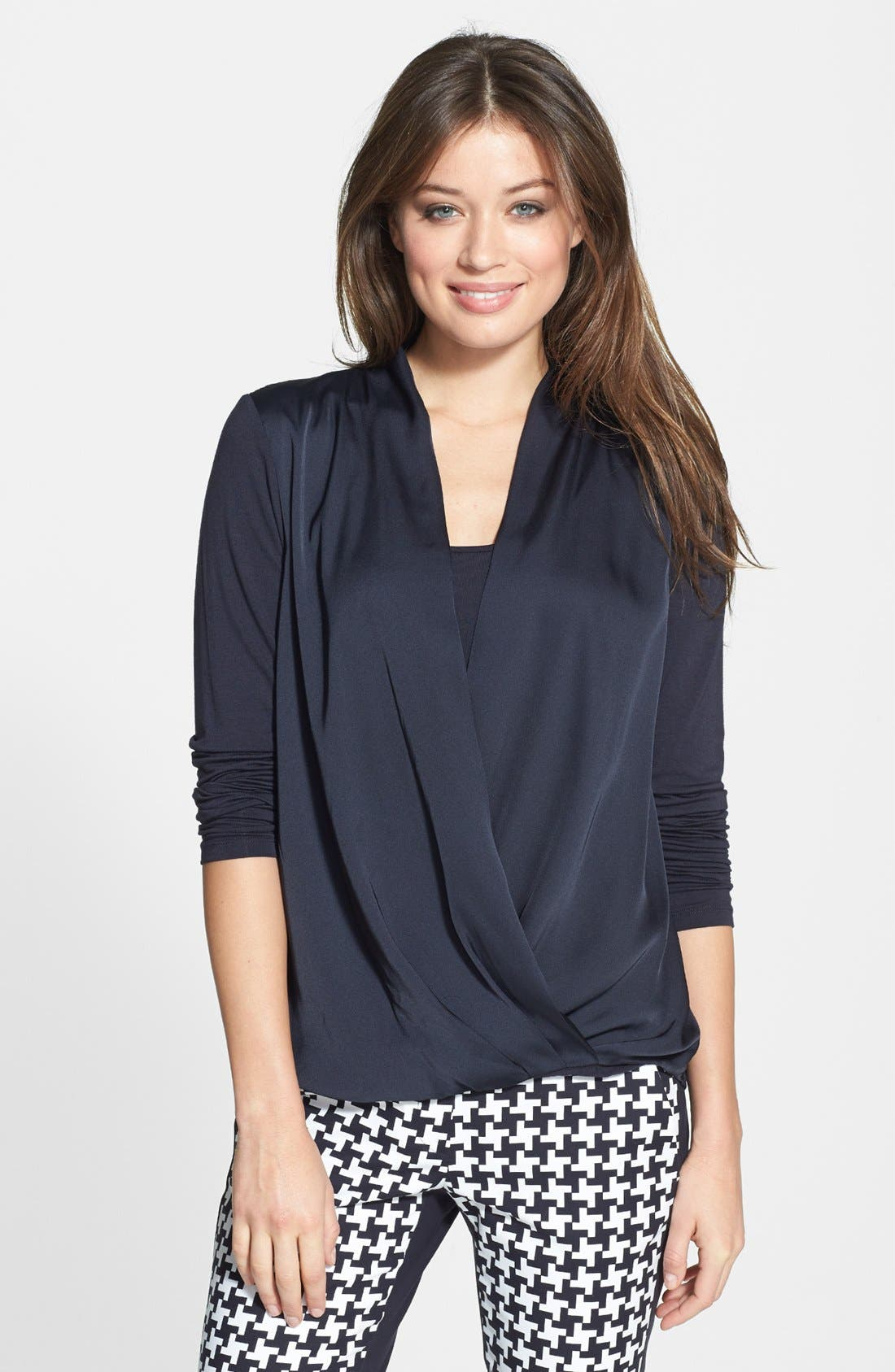 Alternate Image 1 Selected - MICHAEL Michael Kors Cross Front Top (Regular & Petite)