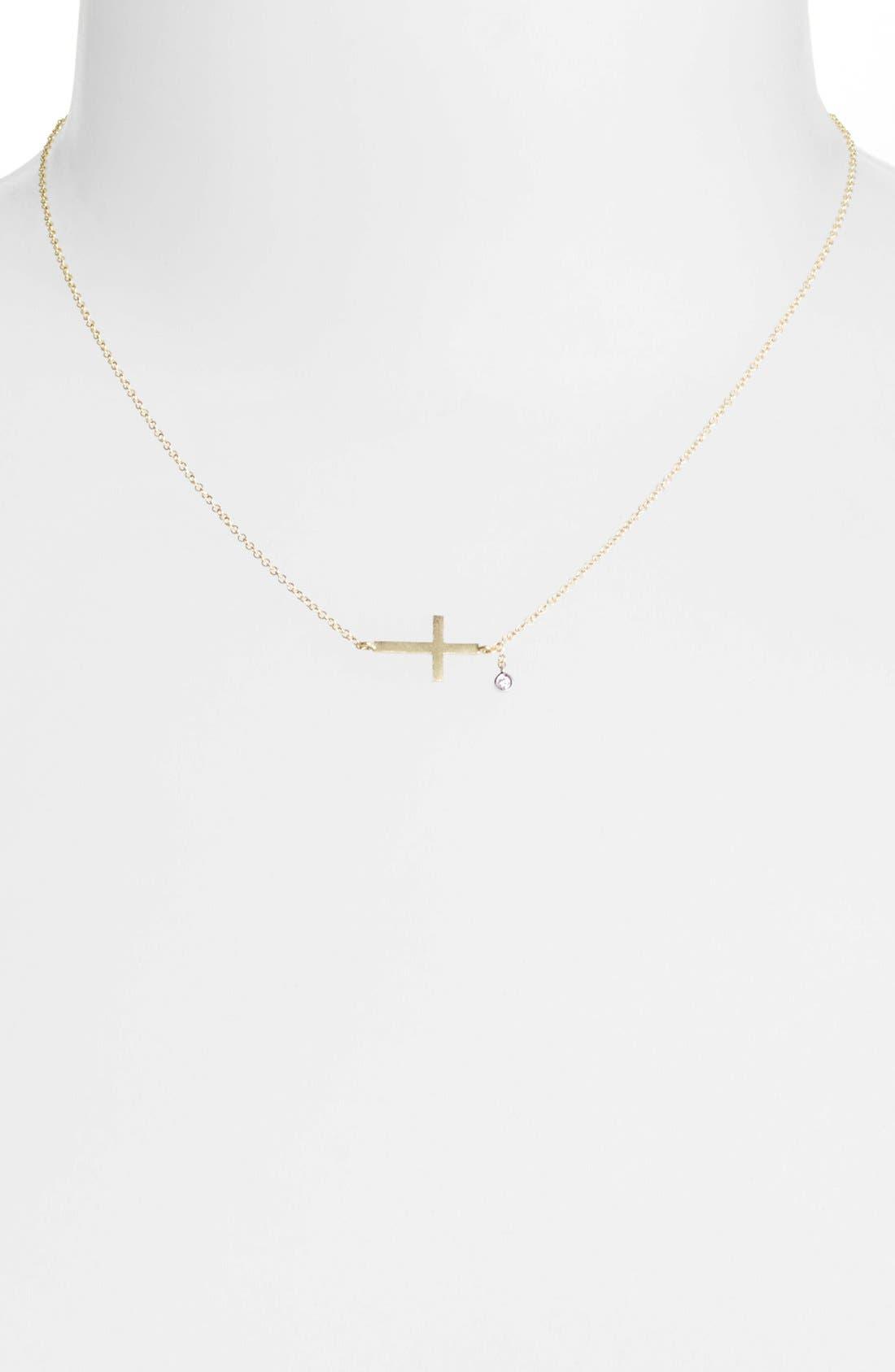 Alternate Image 2  - MeiraT 'Charmed' Diamond Cross Pendant Necklace