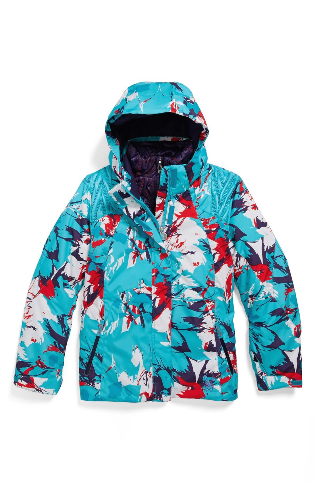 Alternate Image 1 Selected - Spyder 3-in-1 'Stunner' Reversible Hooded Jacket (Big Girls)
