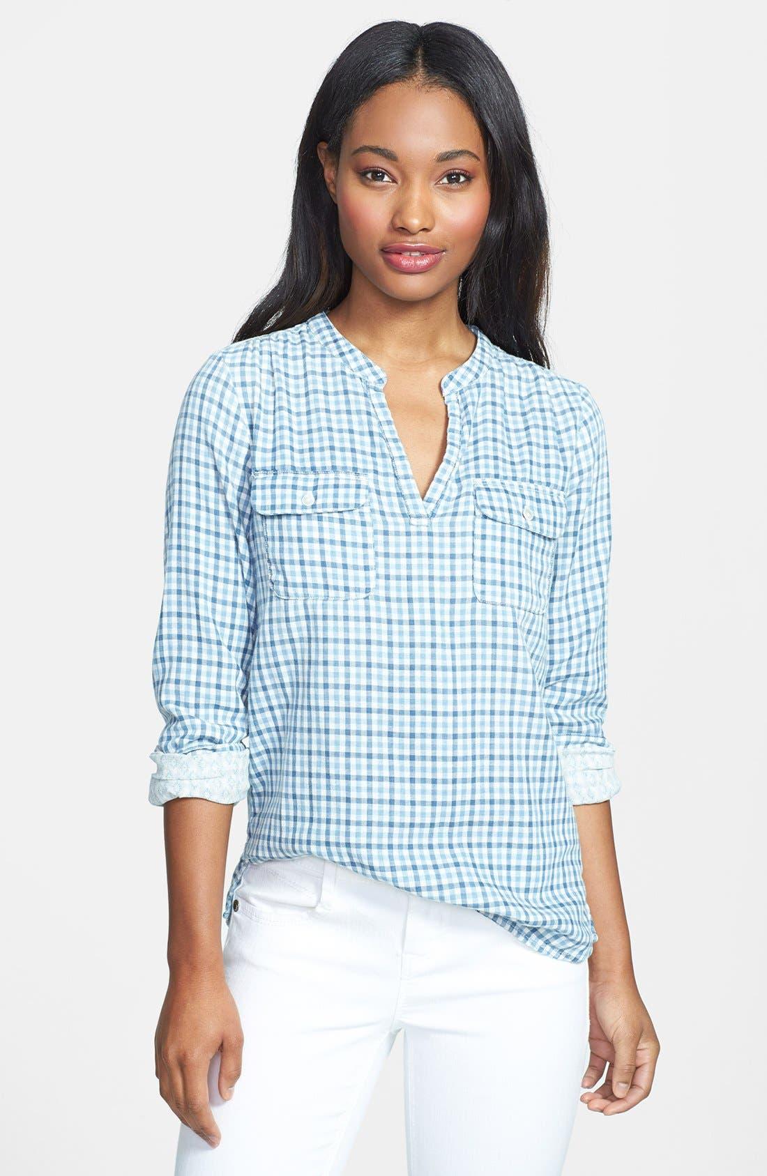 Alternate Image 1 Selected - Lucky Brand Gingham Plaid Popover Shirt