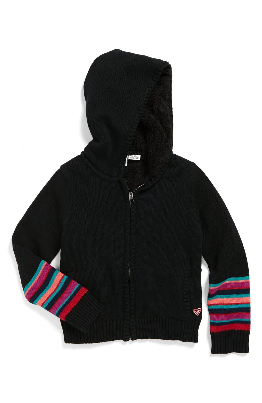 Main Image - Roxy 'Wild Awake' Full Zip Hoodie Sweater (Little Girls)