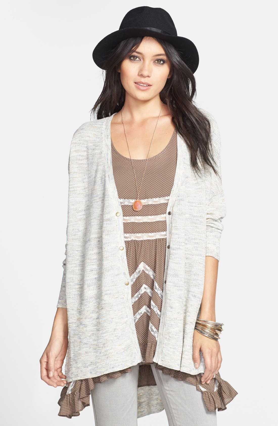 Alternate Image 1 Selected - Free People 'TGIF' Marled High/Low Cardigan