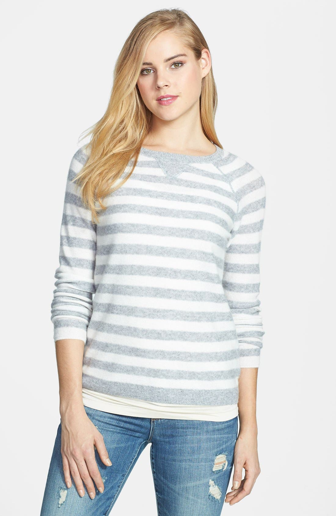Alternate Image 1 Selected - Only Mine Striped Cashmere Sweater