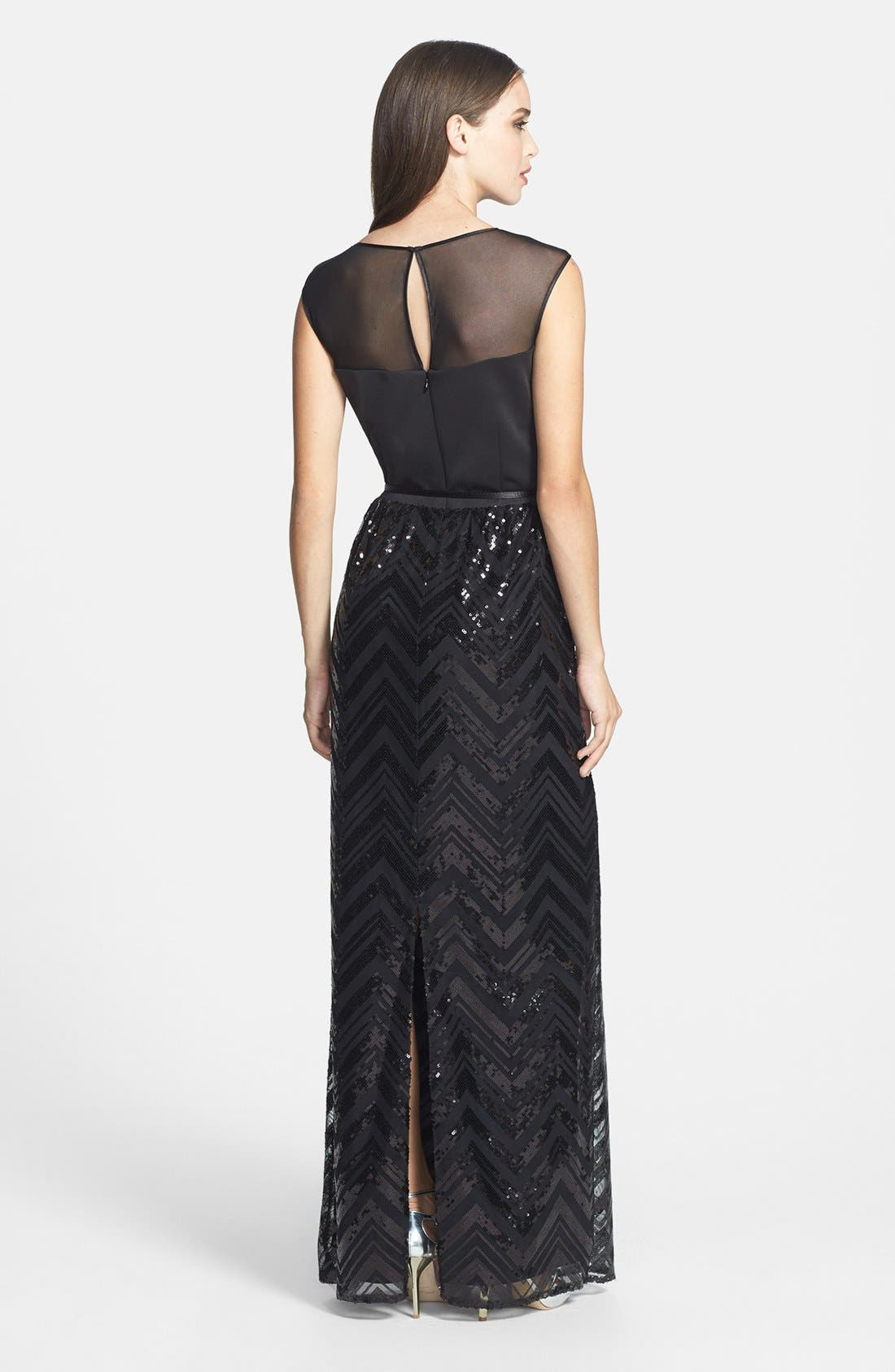 Alternate Image 2  - Ellen Tracy Illusion Yoke Sequin Stripe Long Dress