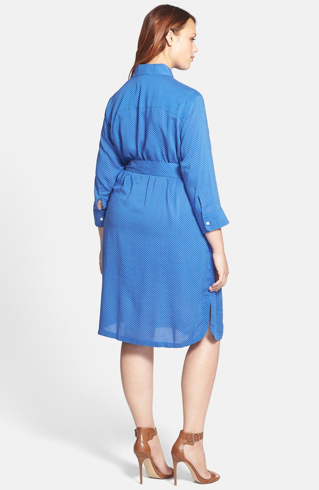 Alternate Image 2  - Foxcroft Dot Print Shirtdress (Plus Size)