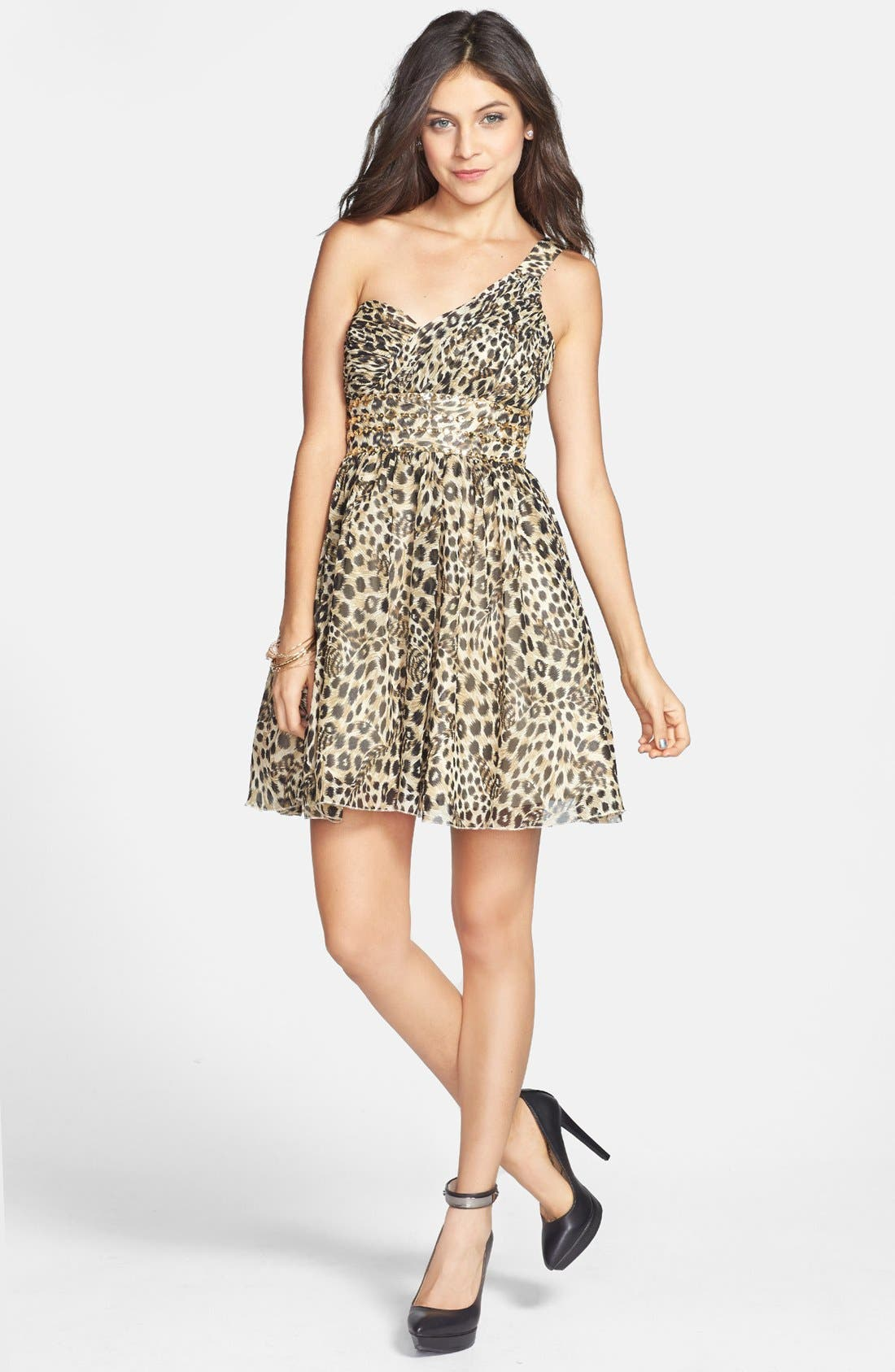 Main Image - Jump Apparel One-Shoulder Leopard Print Dress (Juniors)