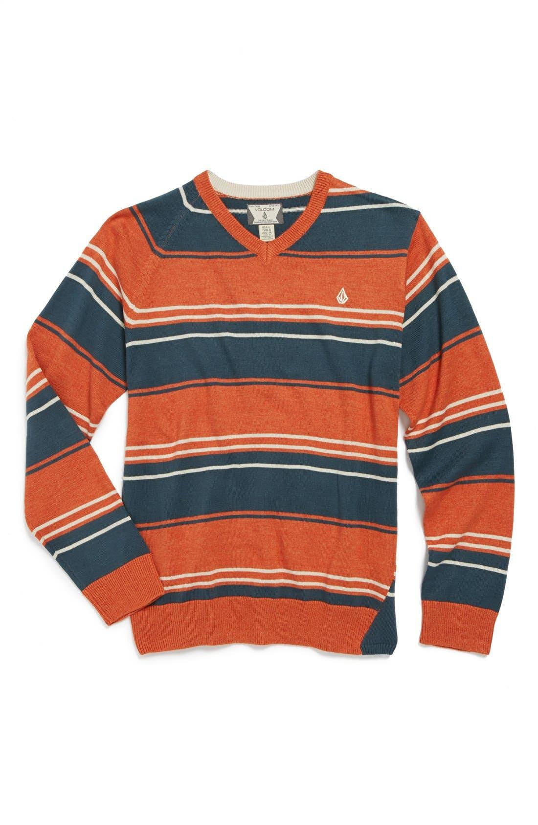 Main Image - Volcom 'Understated' Stripe V-Neck Sweater (Big Boys)