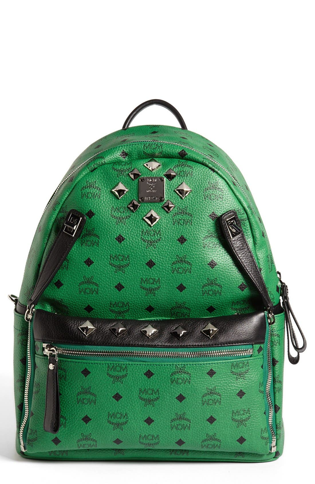 Main Image - MCM 'Studded - Medium' Coated Canvas Backpack