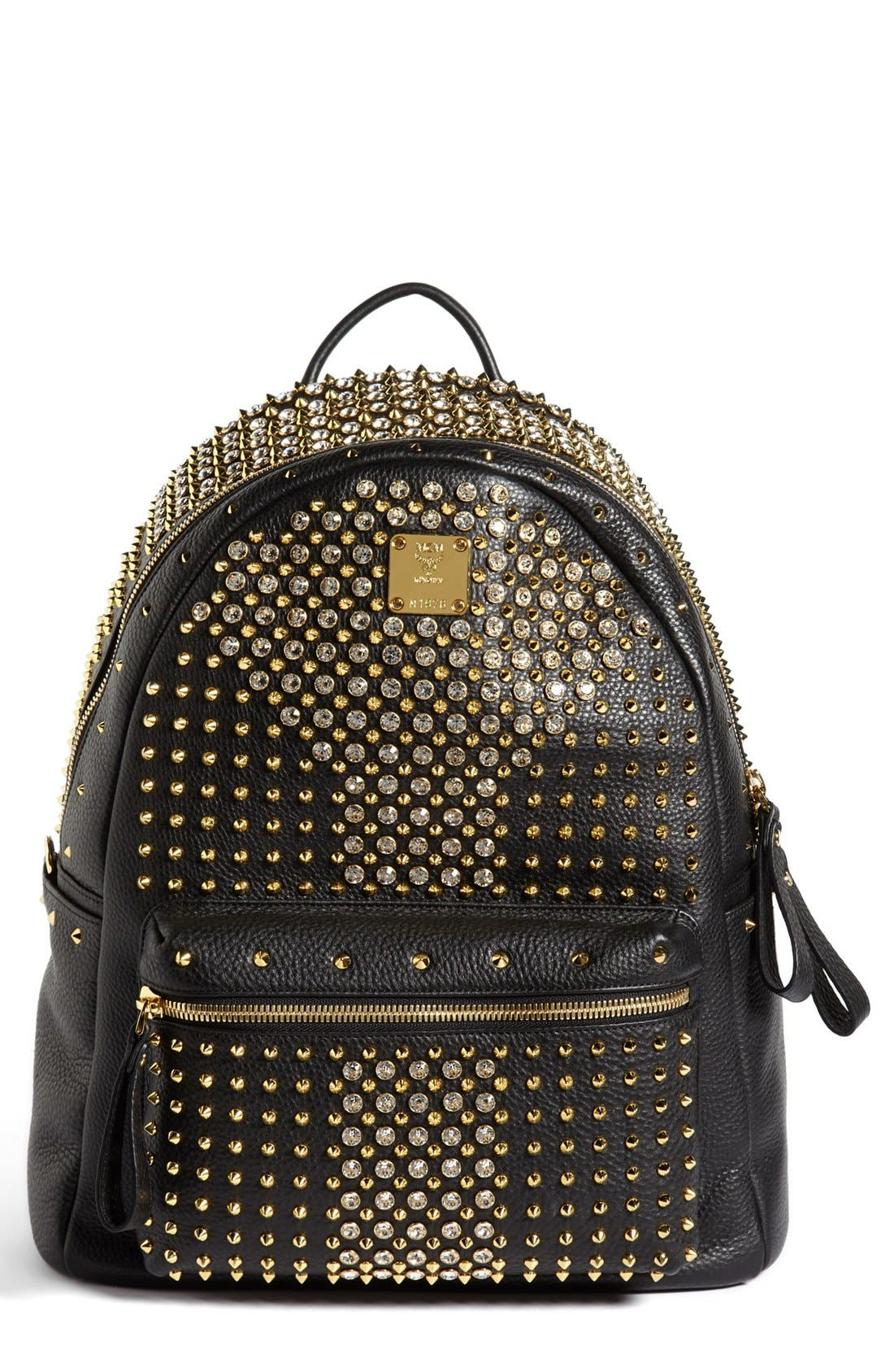 Main Image - MCM 'Crystal Studded - Medium' Leather Backpack