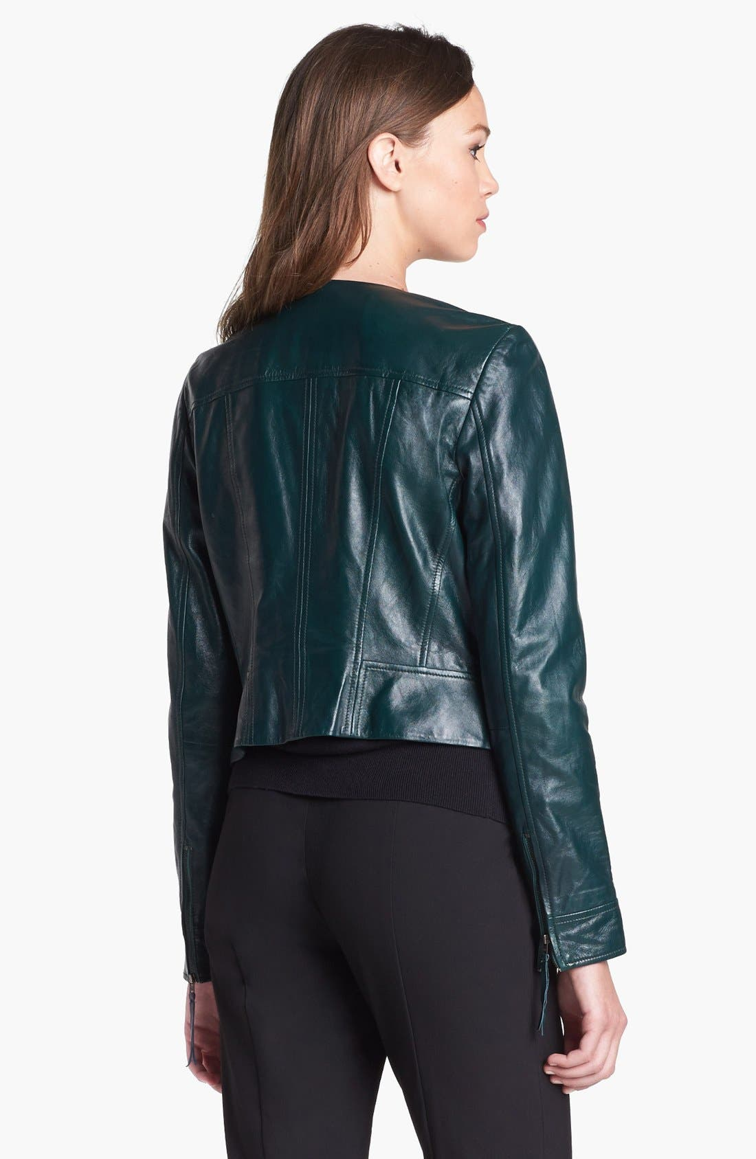 Alternate Image 2  - Halogen® Quilted Lapel Leather Moto Jacket (Petite)