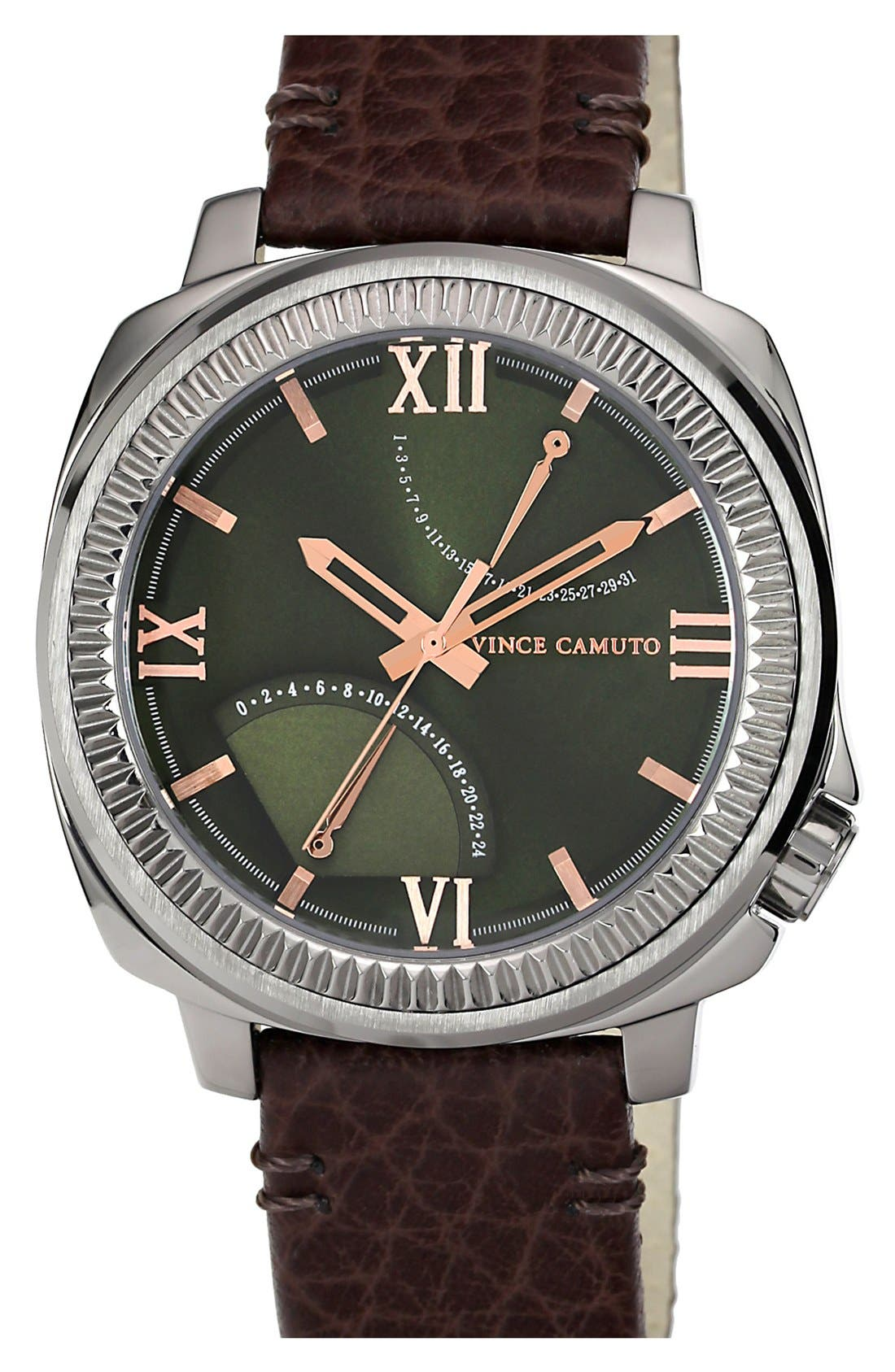 Alternate Image 1 Selected - Vince Camuto Flyback Dial Leather Strap Watch, 43mm