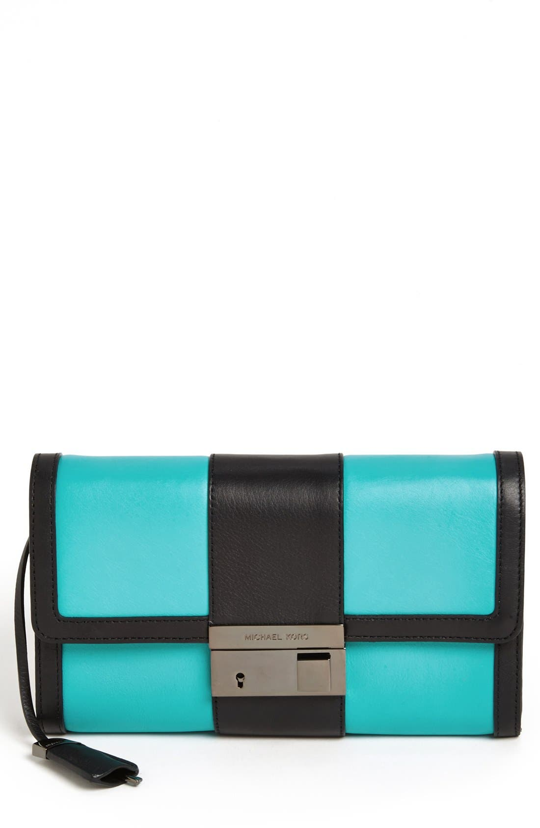 Alternate Image 1 Selected - Michael Kors 'Gia' Colorblock Leather Clutch