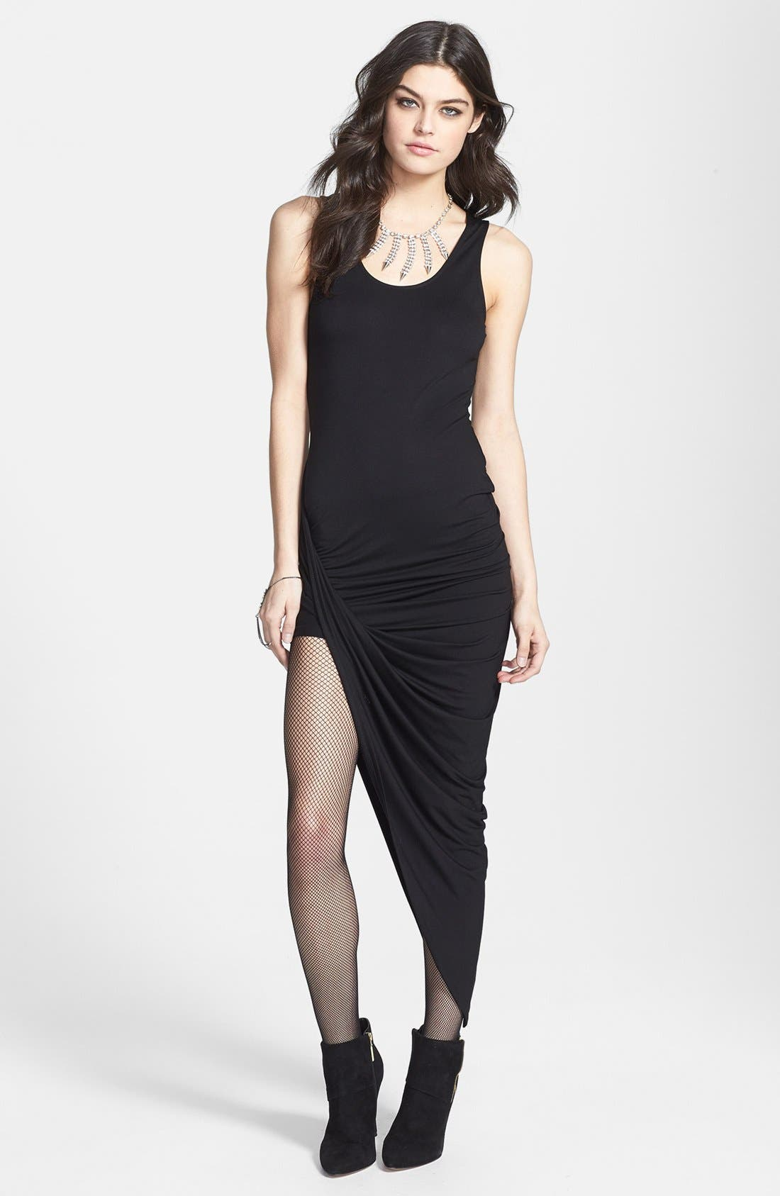 Main Image - ASTR Asymmetrical Faux Wrap Body-Con Dress