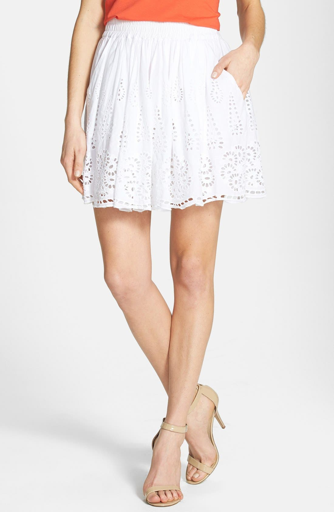 Main Image - Two by Vince Camuto Eyelet Embroidered Cotton Skirt