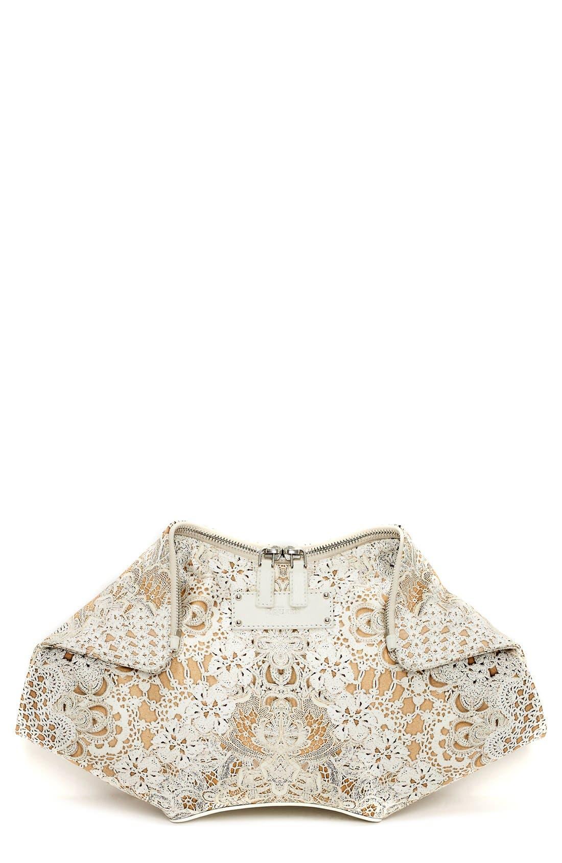 Main Image - Alexander McQueen 'De Manta' Silk & Leather Clutch