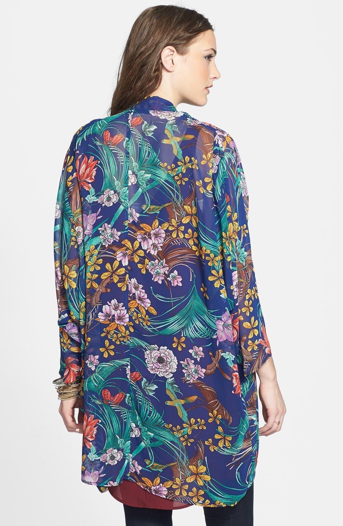 Alternate Image 2  - Hot & Delicious Floral Chiffon Kimono Jacket (Juniors)
