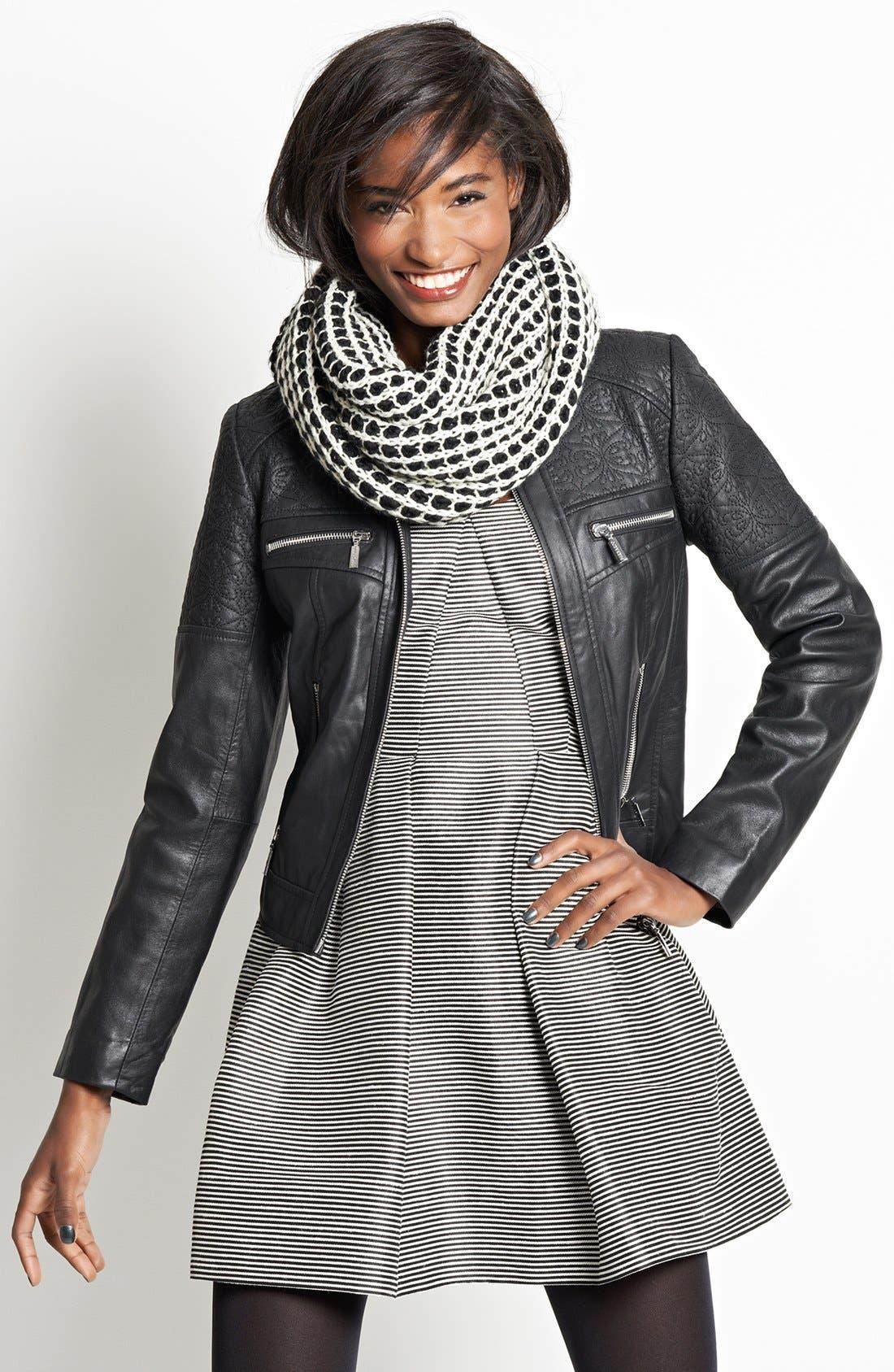Alternate Image 4  - Bernardo Embroidered Leather Scuba Jacket (Regular & Petite)
