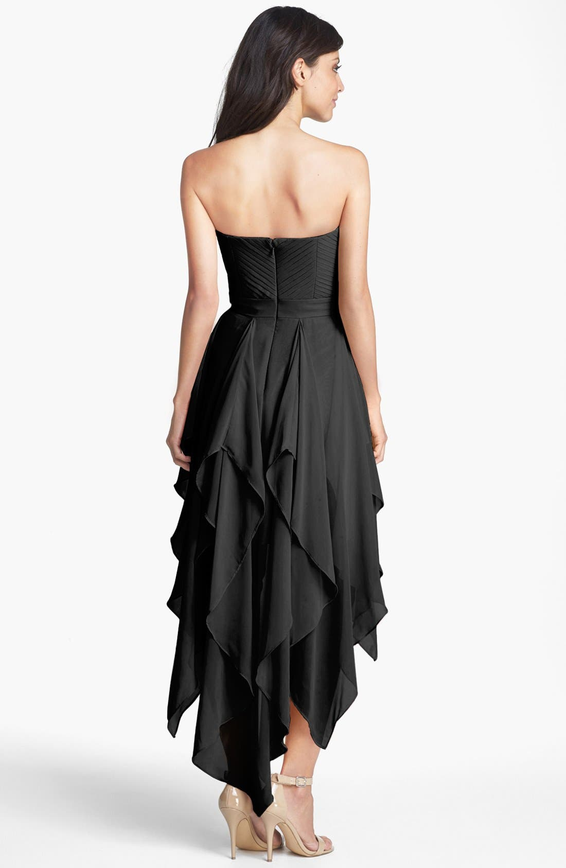 Alternate Image 2  - Hailey by Adrianna Papell Pleat Chiffon High/Low Dress (Online Only)