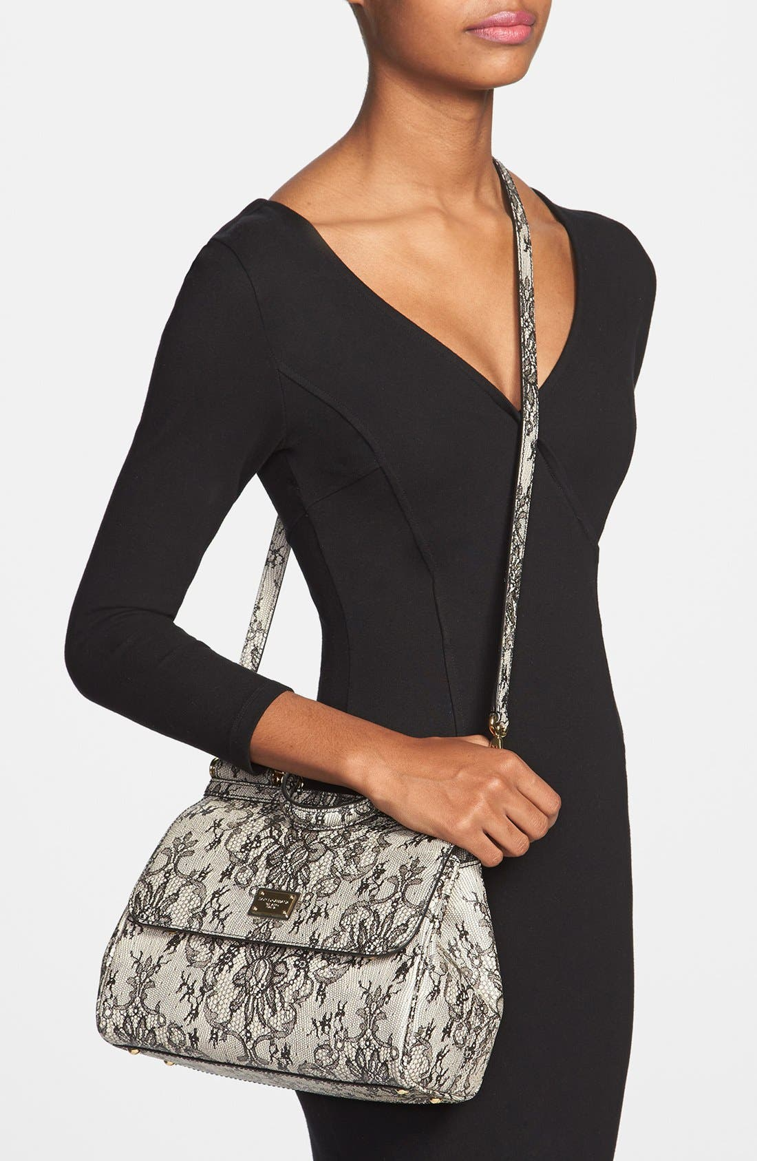 Alternate Image 2  - Dolce&Gabbana 'Miss Sicily - Printed Lace' Top Handle Leather Satchel, Small