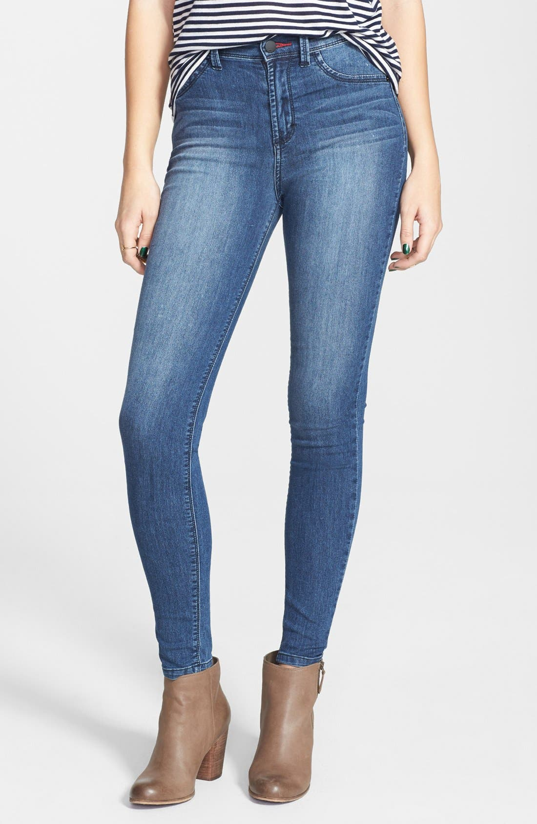 Alternate Image 1 Selected - SP Black High Waist Skinny Jeans (Medium Wash) (Juniors) (Online Only)