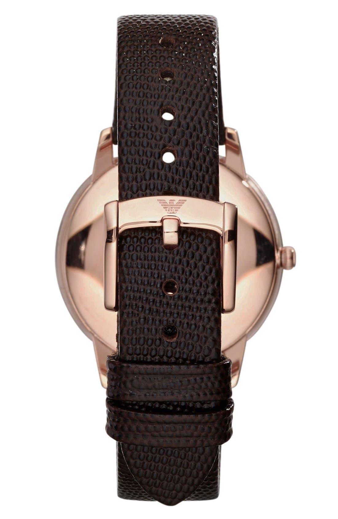 Alternate Image 2  - Emporio Armani Round Lizard Embossed Leather Strap Watch, 33mm