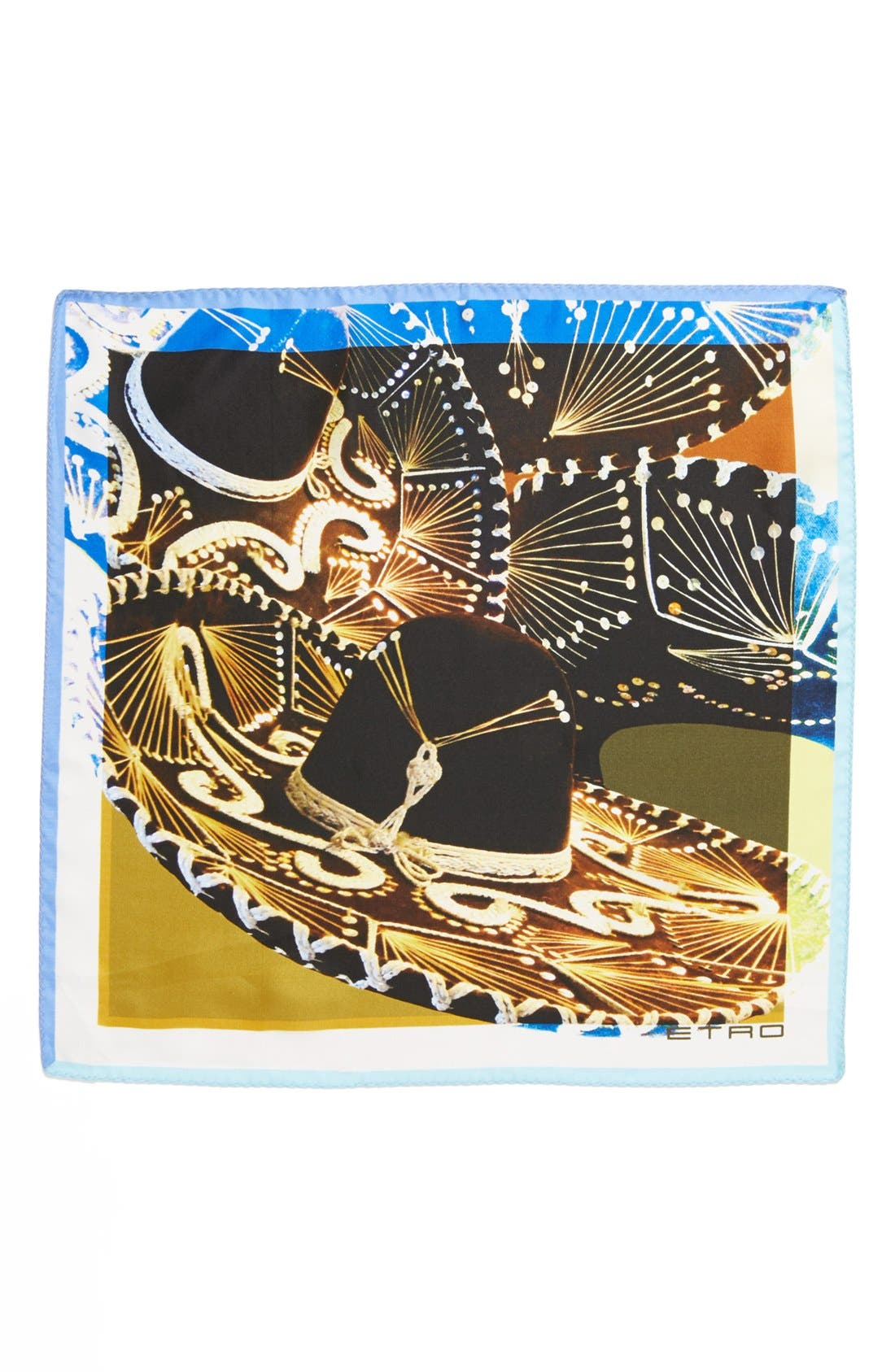 Alternate Image 2  - Etro Sombrero Print Silk Pocket Square