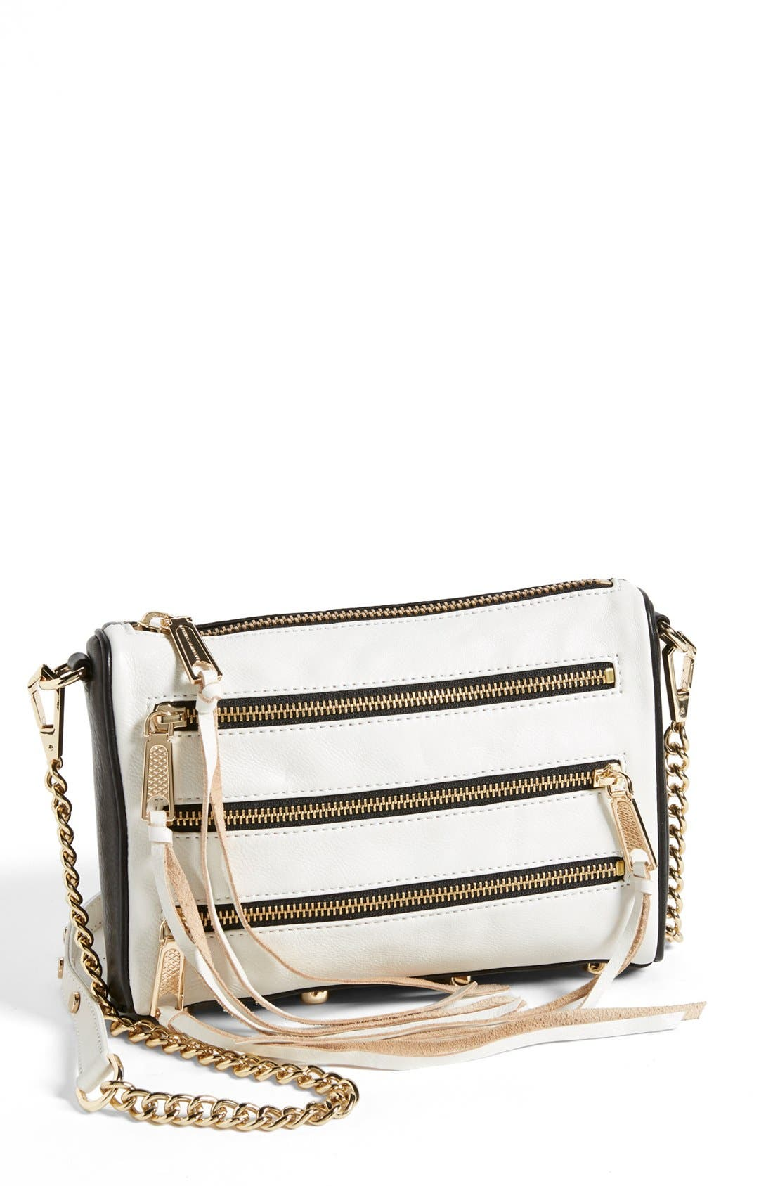 Alternate Image 1 Selected - Rebecca Minkoff '5 Zip - Mini' Two-Tone Leather Crossbody Bag