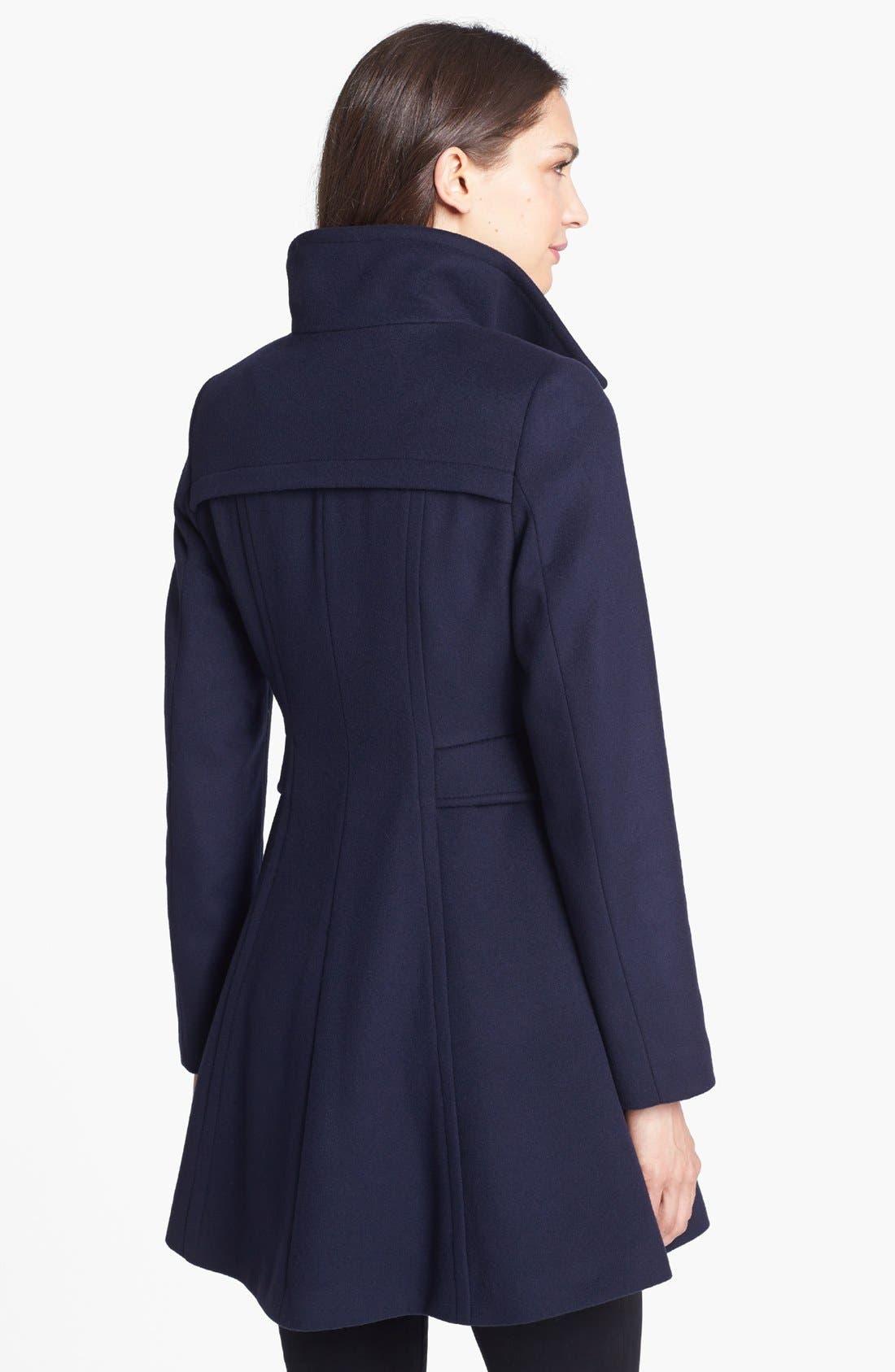 Alternate Image 2  - Trina Turk Lambswool & Cashmere Officer's Coat (Petite)