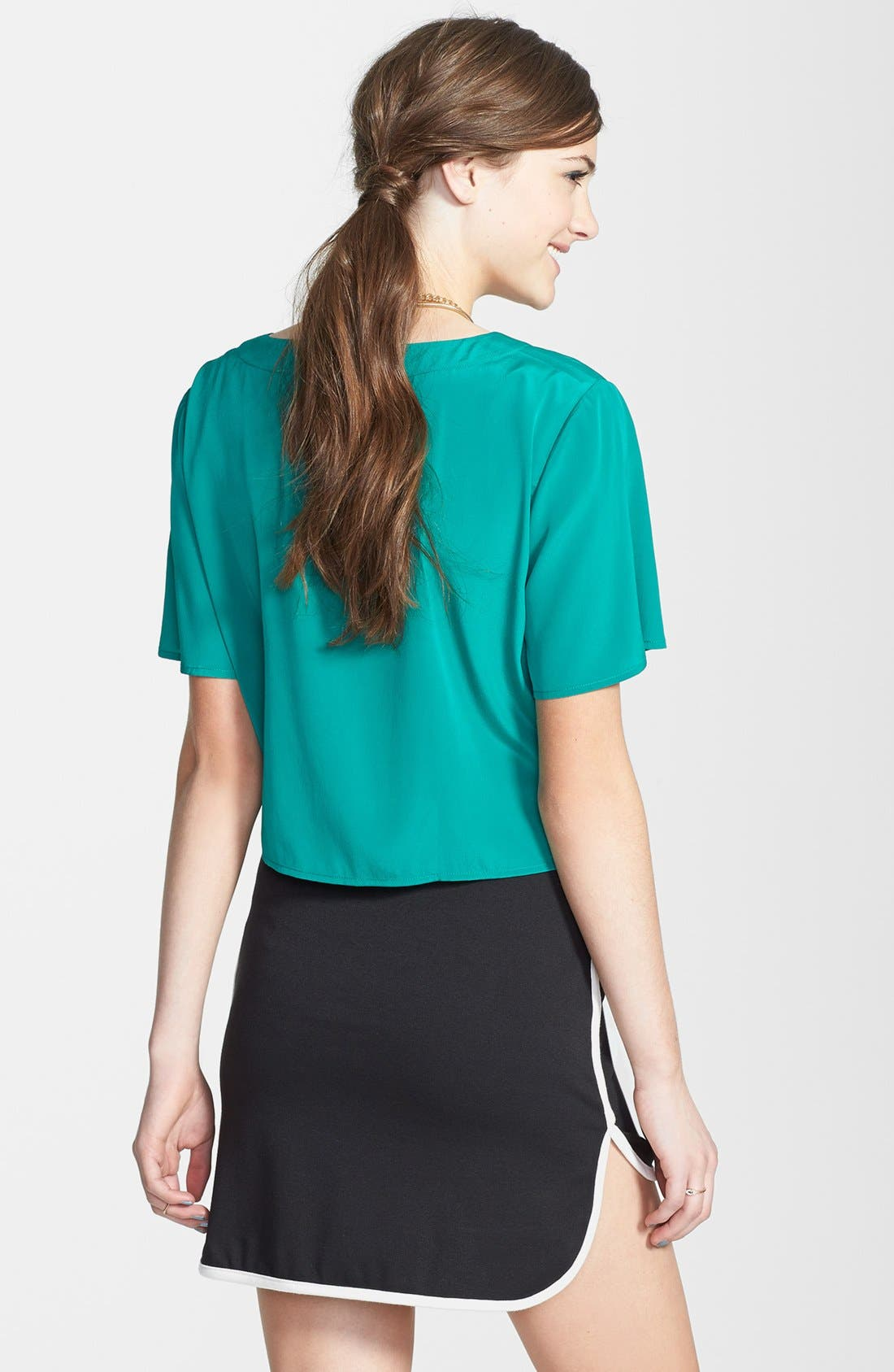 Alternate Image 2  - Painted Threads Contrast Trim Miniskirt (Juniors) (Online Only)