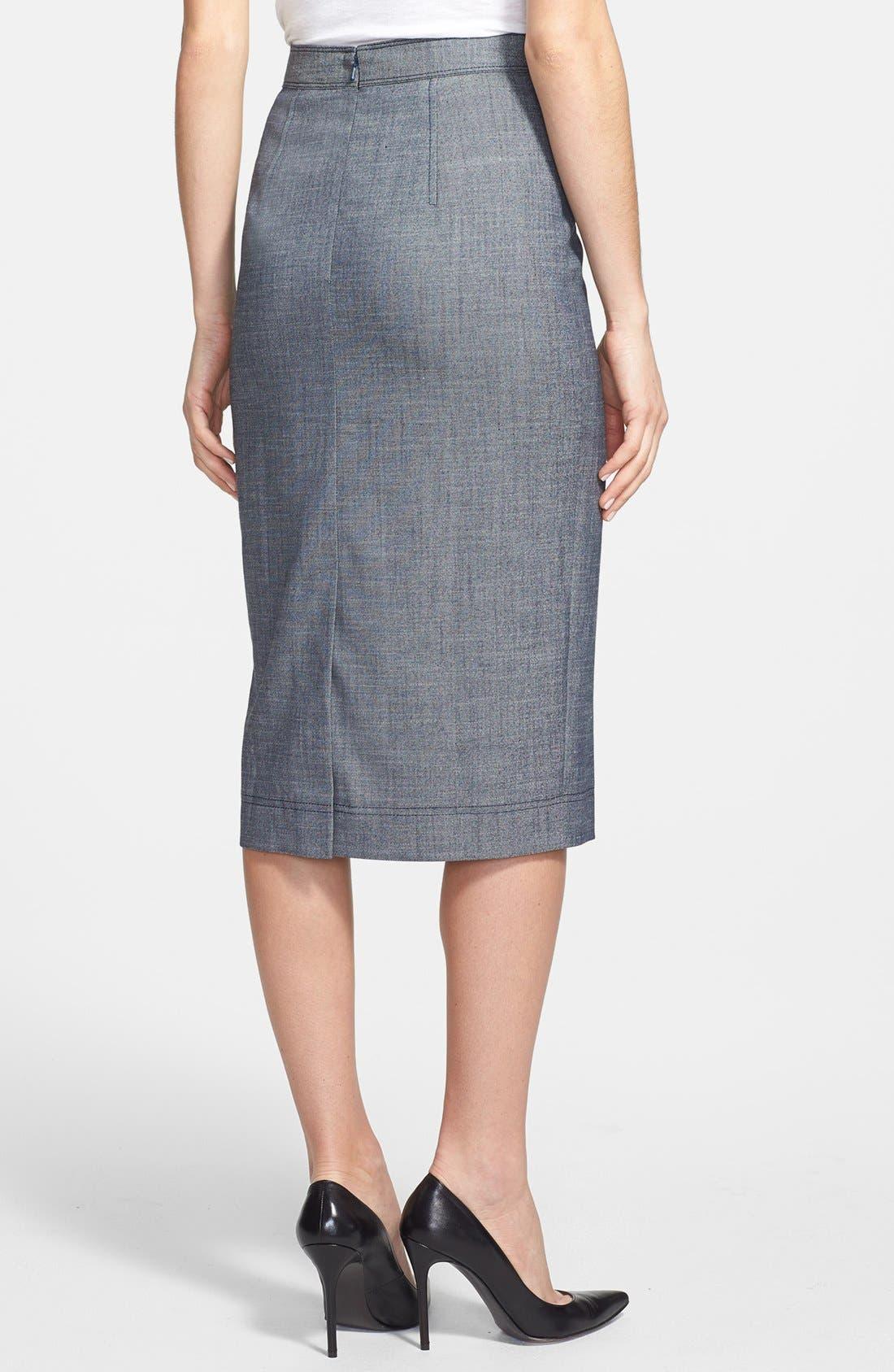 Alternate Image 2  - Halogen® Crosshatch Weave Midi Pencil Skirt