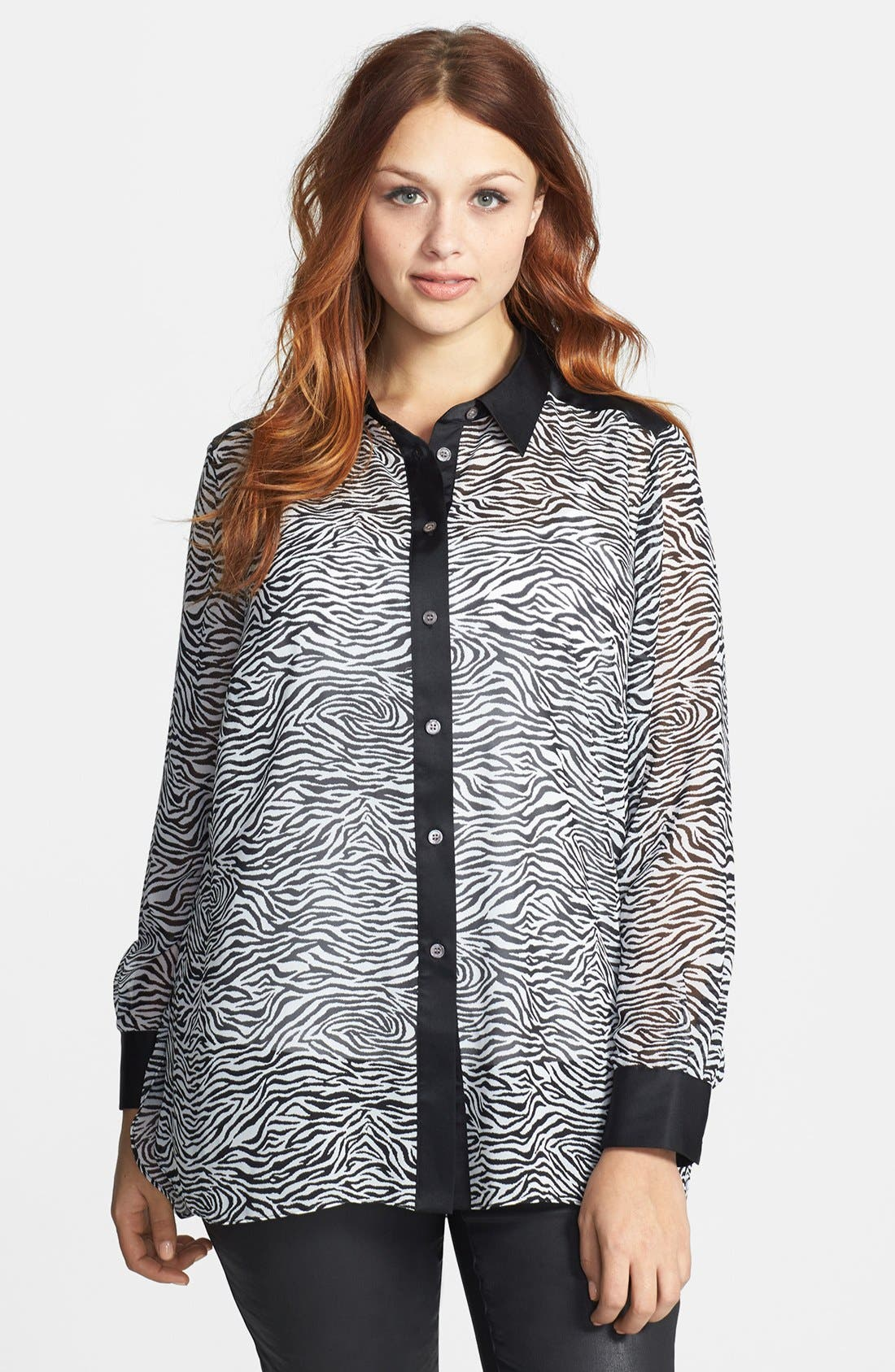 Main Image - Vince Camuto Zebra Print Mixed Media Blouse (Plus Size)