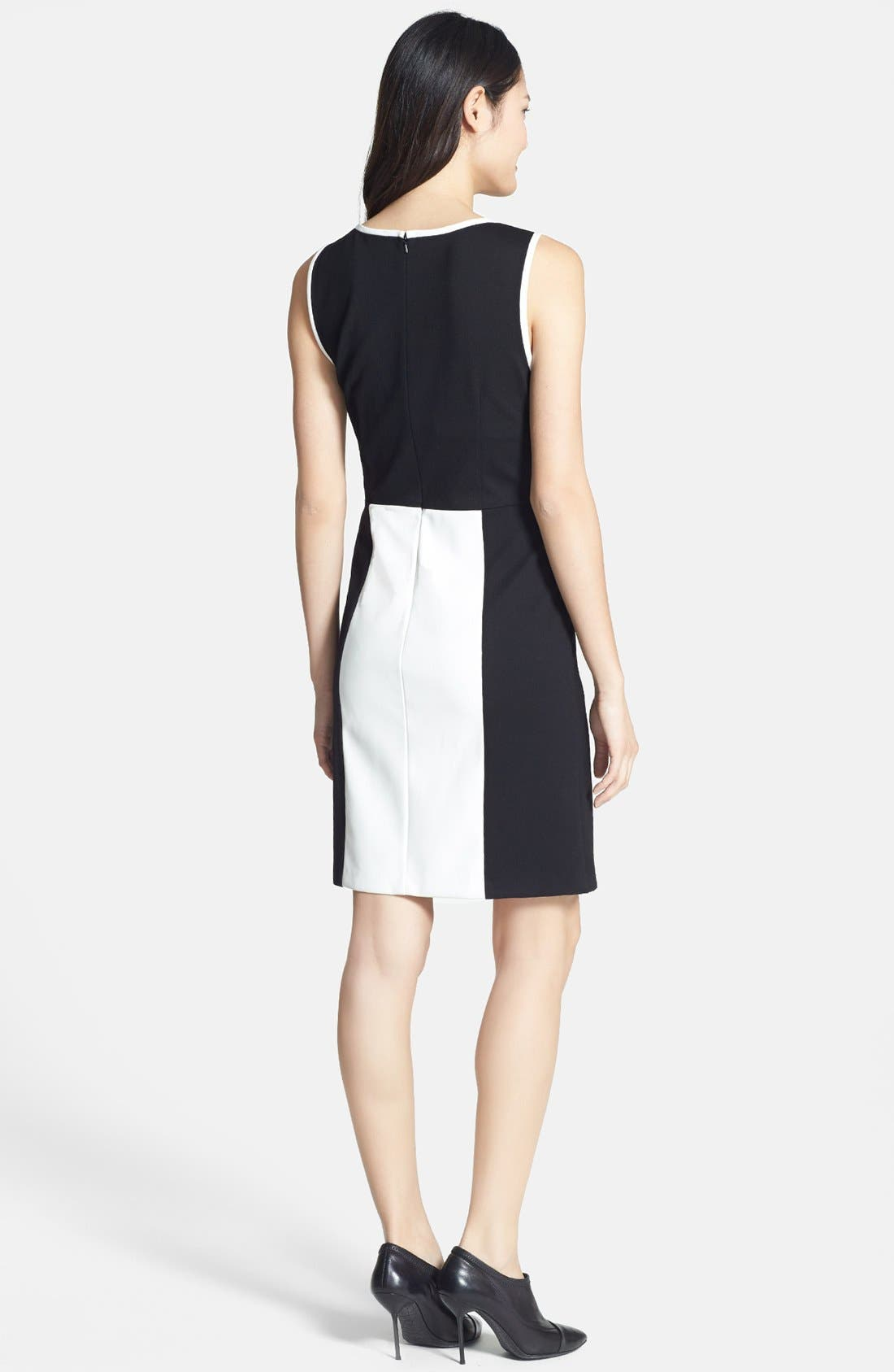 Alternate Image 2  - DKNYC Colorblock Faux Leather & Ponte Dress