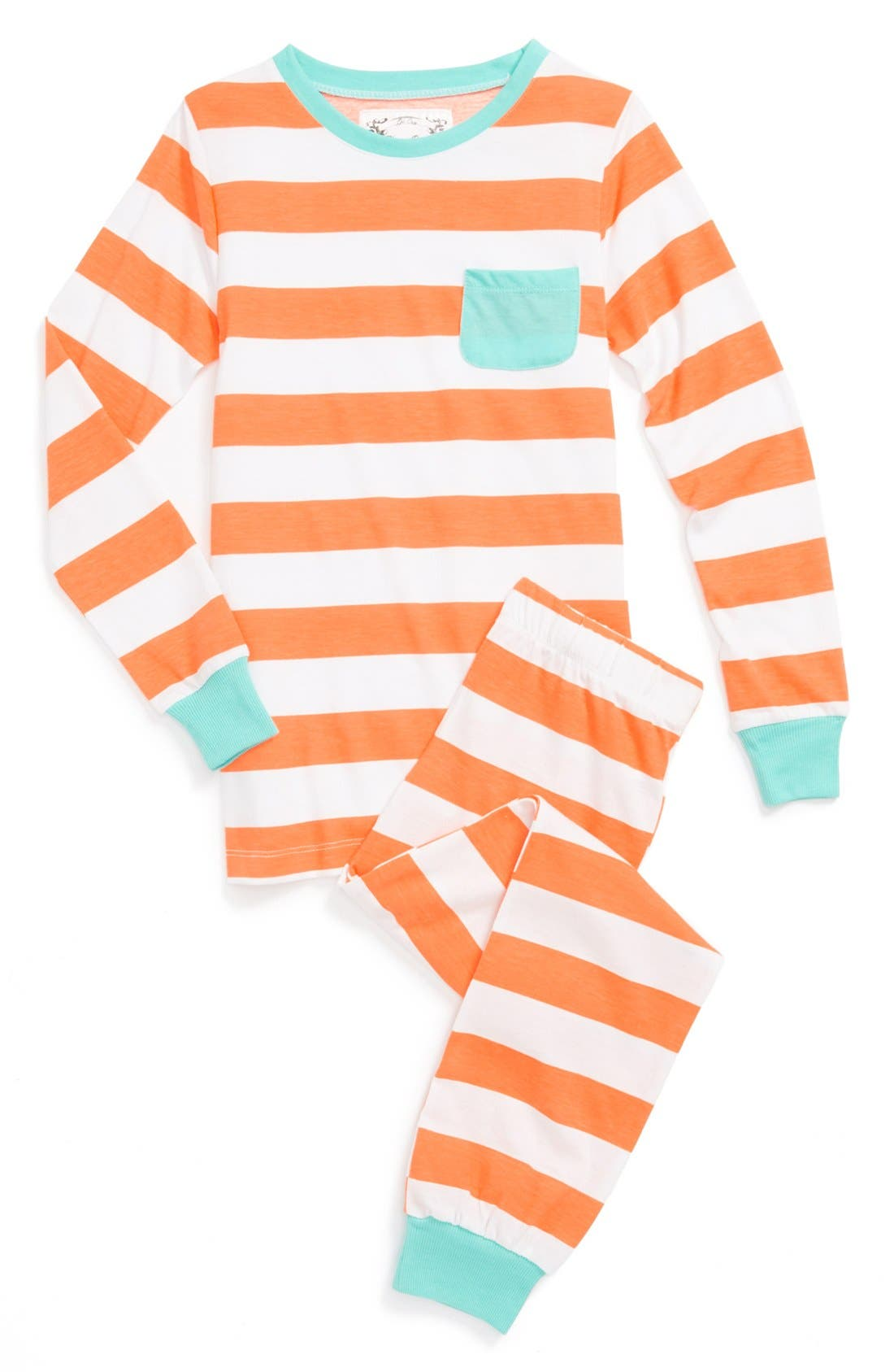 Alternate Image 1 Selected - Aegean Apparel Two-Piece Fitted Pajamas (Big Girls)