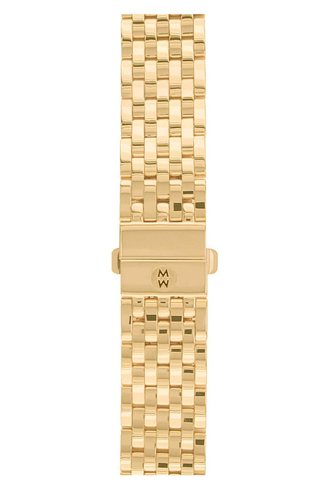 Alternate Image 1 Selected - MICHELE Deco 18mm Gold Plated Bracelet Watchband