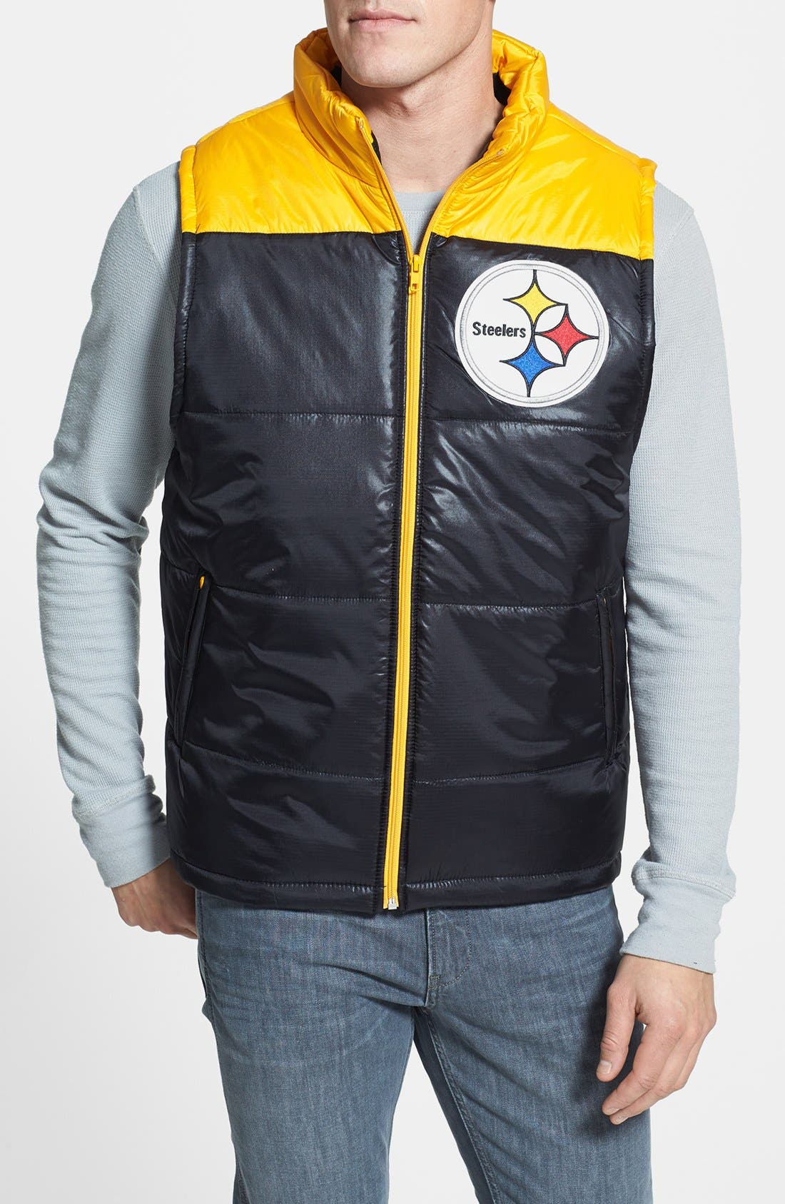 Main Image - Mitchell & Ness 'Winning Team - Pittsburgh Steelers' Quilted Vest